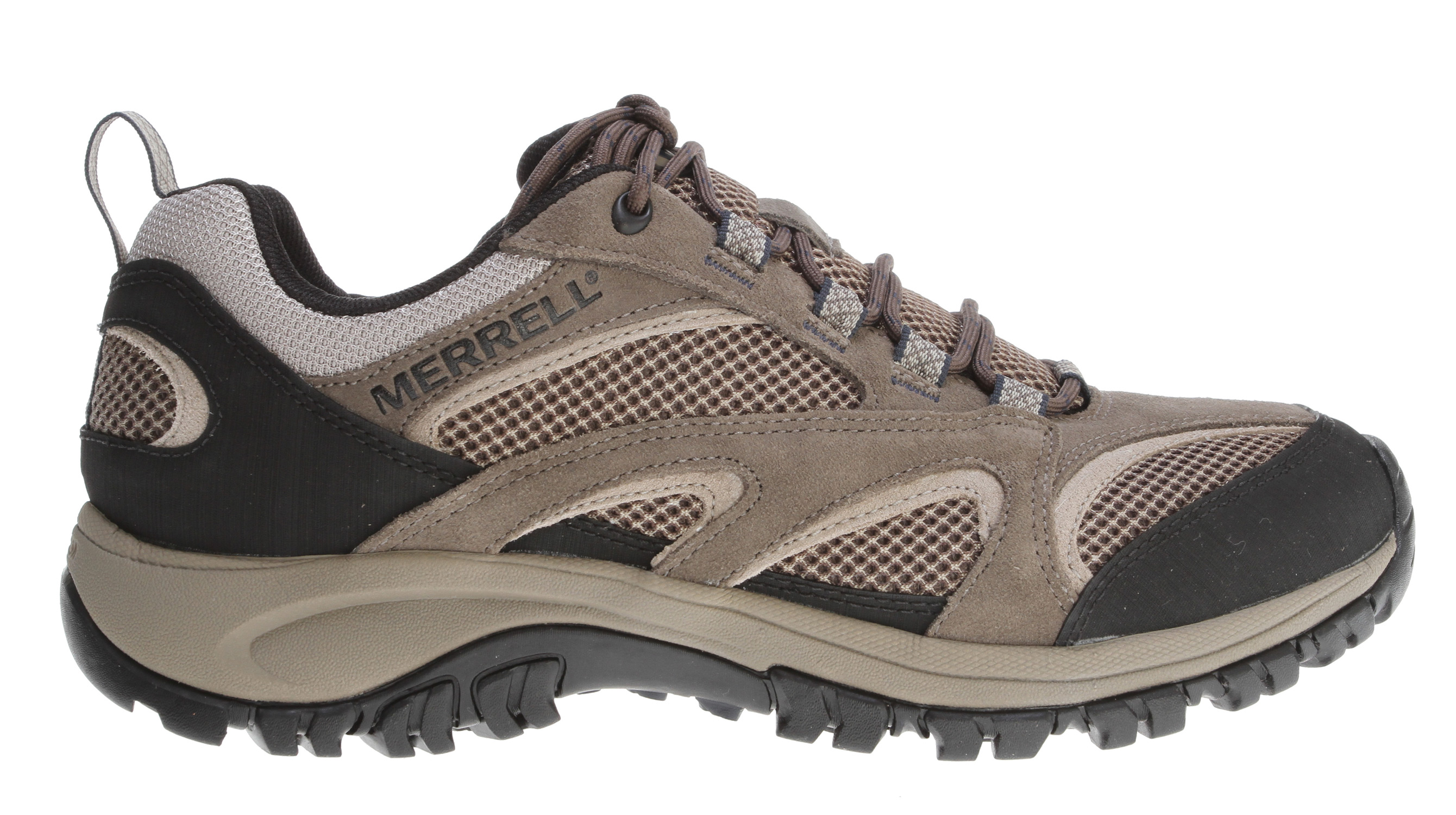 Camp and Hike Ramble on in these low profile multisport shoes. Plenty of support and durable midsole cushioning, with a pared down upper, it's got a supportive arch shank, flexible sole construction to keep your feet comfortable. Lightweight suede/mesh, anti-odor upper with bellows tongue keeps out debris.Key Features of the Merrell Phoenix Vent Low Hiking Shoes: Strobel construction offers flexibility and comfort Pig suede and mesh upper Low cut upper Bellows tongue keeps debris out Abrasion resistant toe cap and heel Mesh lining treated with Aegis antimicrobial solution Molded nylon arch shank Merrell air cushion in the heel absorbs shock and adds stability with an EVA midsole for cushioning Merrell Kamet Sole/ Sticky Rubber Men's Weight: 1lb 11ozs - $62.95