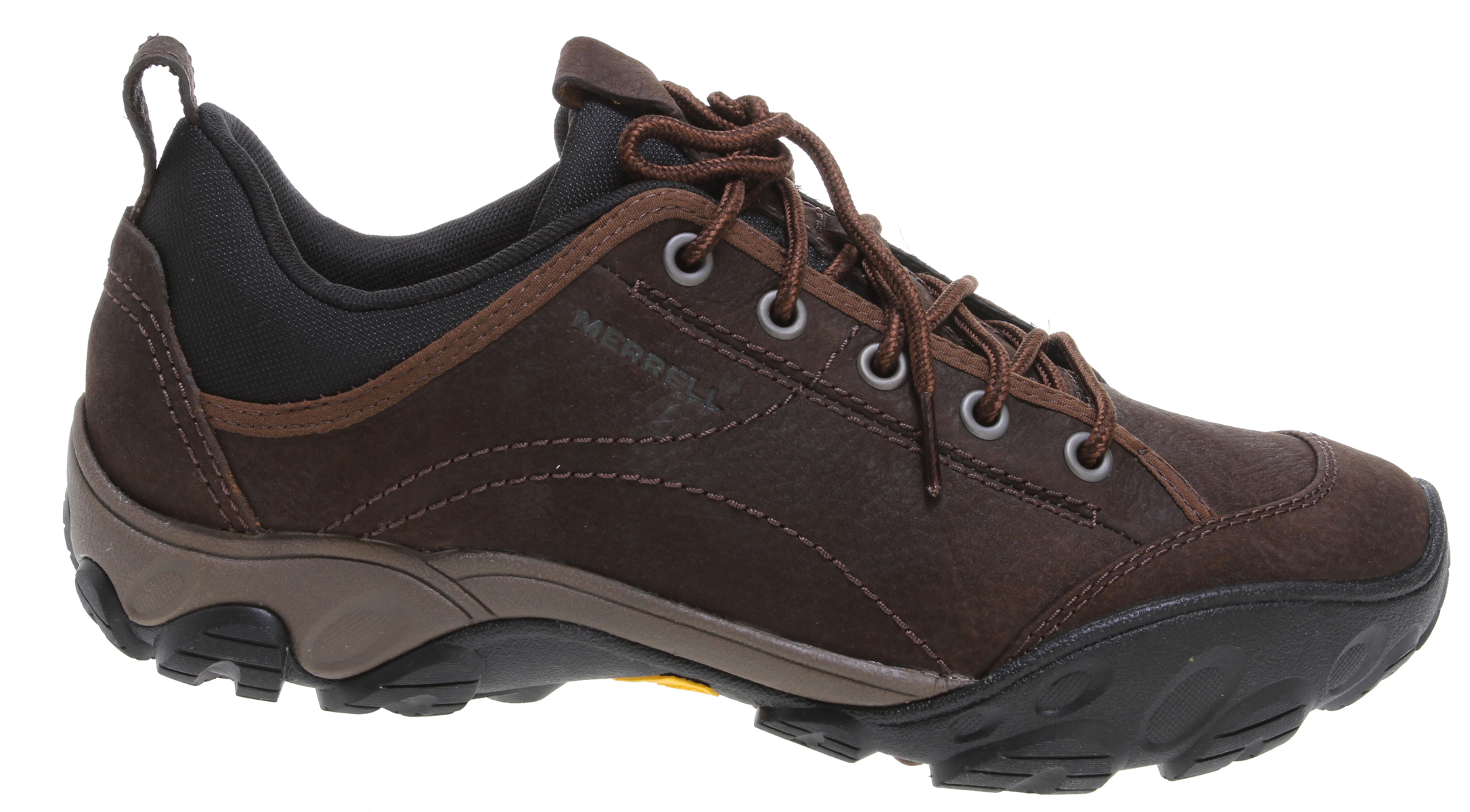 Camp and Hike So what if you work in an office? With these casual hiking shoes you're ready to answer the call to get outside at any moment. Equipped for all adventures great and small, these handsome hikers sport 5mm lugs in the sole, a padded gusset tongue, and a breathable lining that's been treated with Aegis antimicrobial.Key Features of the Merrell Sight Hiking Shoes: Strobel construction offers flexibility and comfort Full grain leather Breathable mesh lining treated with Aegis® antimicrobial solution Ortholite® Anatomical Footbed Molded nylon arch shank Merrell® Air Cushion in the heel absorbs shock and adds stability with an EVA Midsole for cushioning 5mm Sole Lug depth Vibram® pelorus/TC5+ rubber Weight: 2 lbs. 3 ozs. - $76.95