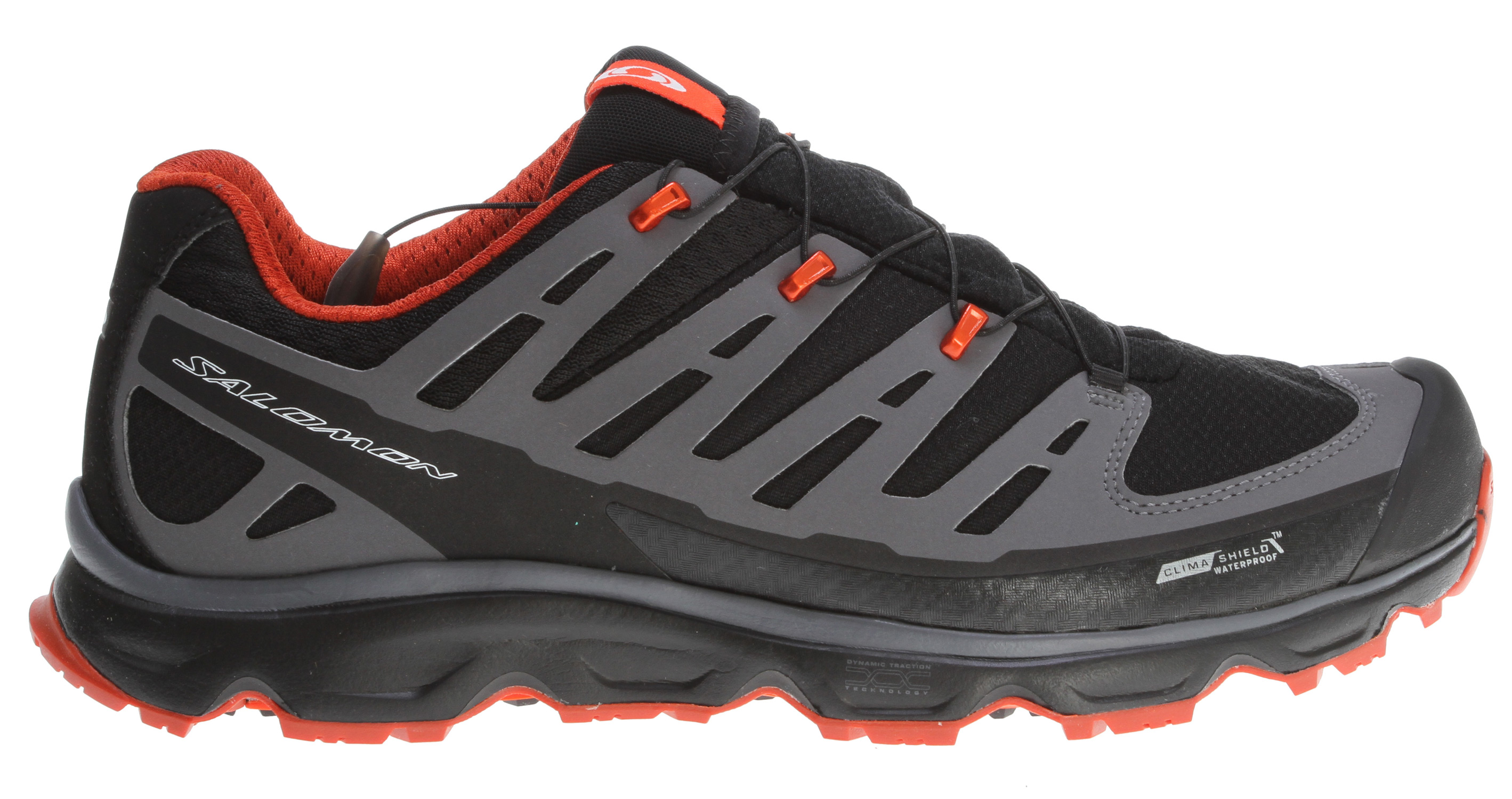 Camp and Hike Natural motion hiking shoe for people who take an athletic approach to the mountains. Synapse CS WP is a very breathable waterproof solution for year-round fast hiking.Key Features of the Salomon Synapse CS Hiking Shoes: Weight: 12.3oz Heel foam Water resistant textile Seamless Sensifit Lace pocket Sensifit Gusseted tongue Protective rubber toe cap Mud guard Quicklace Climashield waterproof Textile Lining 360 degrees Waterproof bootie construction Non marking Contagrip OS Tendon Dynamic traction Molded EVA sockliner EVA shaped footbed Ortholite OS Muscle midsole Injected EVA midsole Midsole height: 24mm/14mm - $97.95