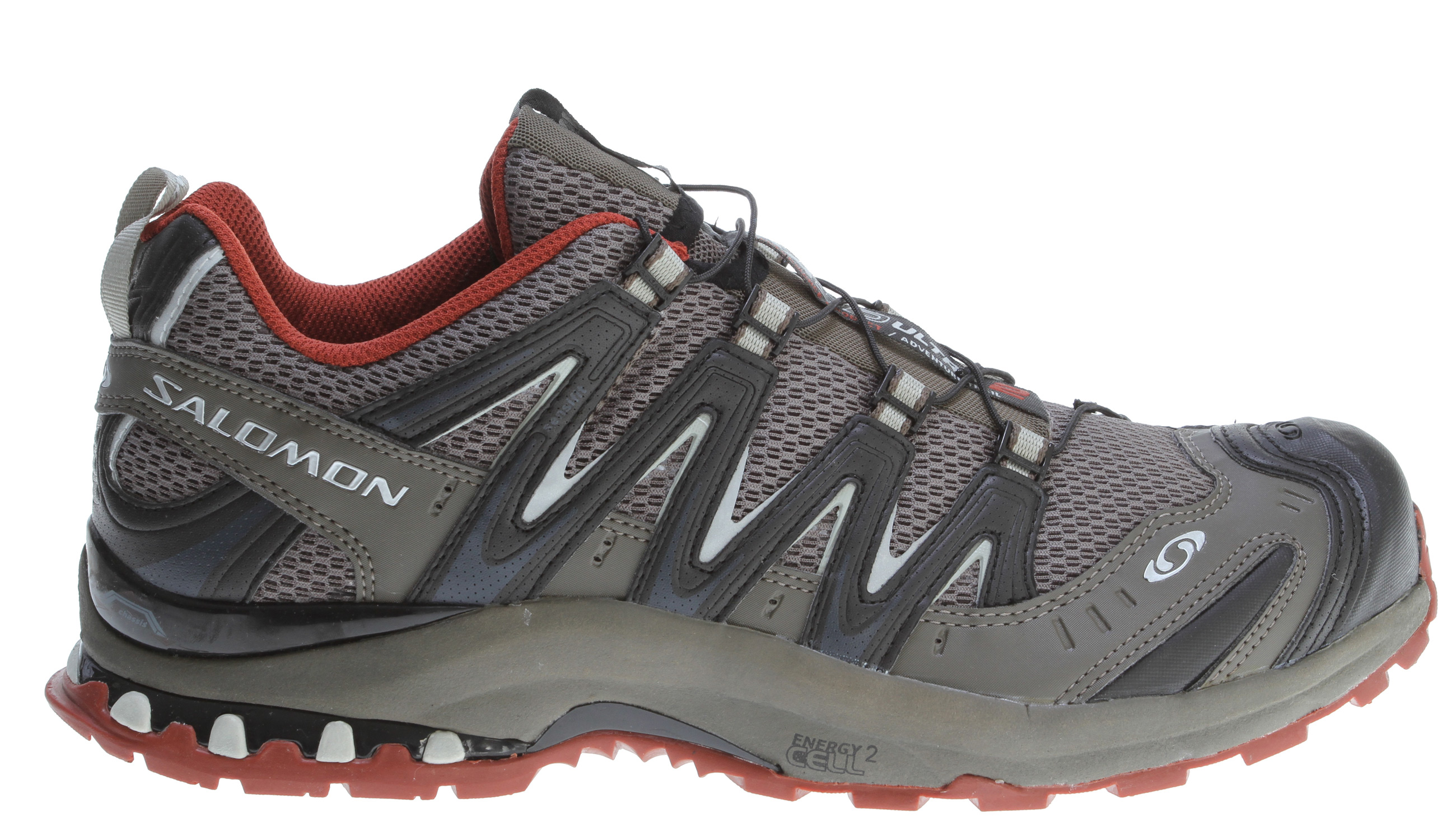 Camp and Hike Mountain trail running shoe with added ankle support of a mid cut and GORE-TEX for year round climate comfort.Key Features of the Salomon XA Pro 3D Ultra 2 Hiking Shoe: Weight: 415g / 14.6oz (SIZE 9 US) Upper: Protective rubber toe cap Gusseted tongue Lace pocket Sensifit™ Protective heel cap Friction free lace eyelet EVA molded foam Mud guard Protective synthetic toe cap Quicklace™ Anti-debris mesh Water Resistant textile Lining: membrane: GORE-TEX® Extended Comfort Footwear Midsole: Du l density EVA Molded EVA Outsole: Non marking Contagrip® Sockliner: Anatomical EVA footbed OrthoLite® Chassis: Salomon Cushioning System 3D advanced chassis ™ - $90.95