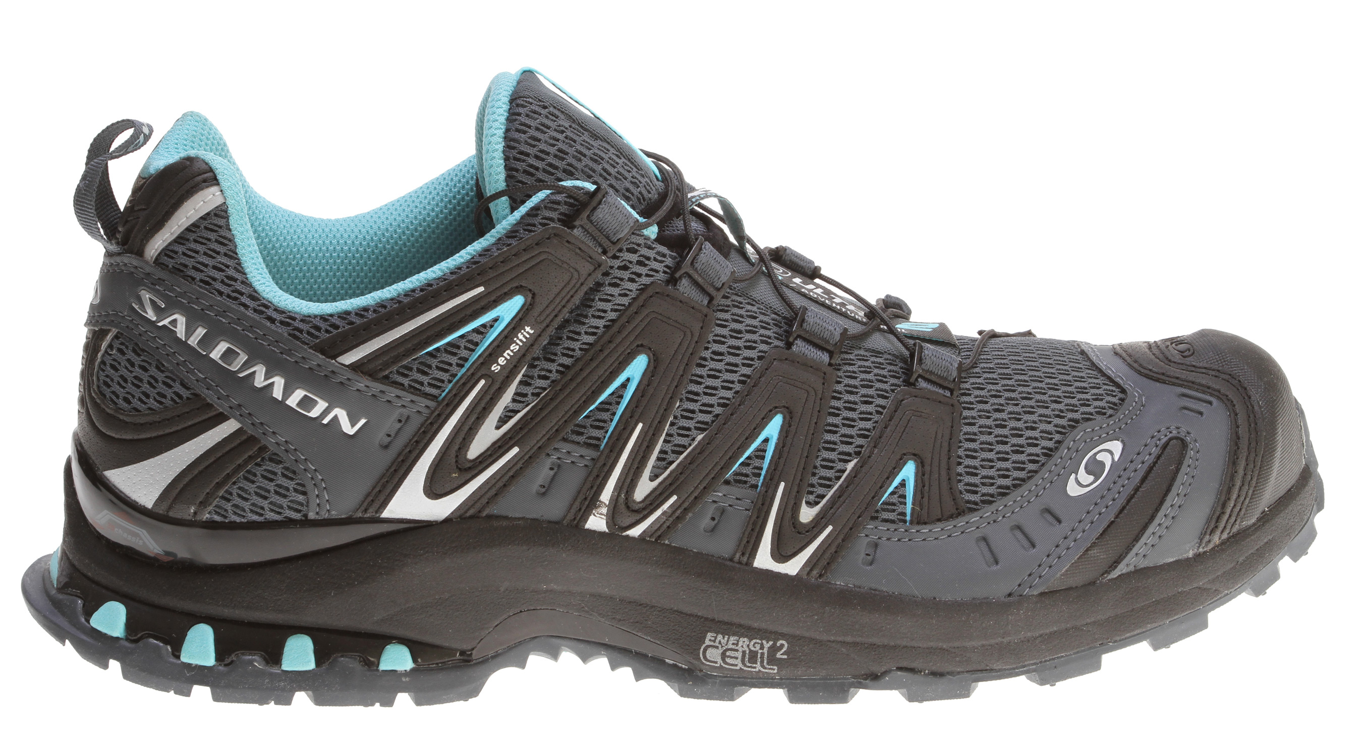 Camp and Hike Mountain trail running shoe with added ankle support of a mid cut and GORE-TEX for year round climate comfort.Key Features of the Salomon XA Pro 3D Ultra 2 Hiking Shoe: Upper: Protective rubber toe cap Gusseted tongue Lace pocket Sensifit Protective heel cap Friction free lace eyelet EVA molded foam Mud guard Protective synthetic toe cap Quicklace Optimized fit for Women Anti-debris mesh Water Resistant textile Midsole: Du l density EVA Molded EVA Outsole: Non marking Contagrip Sockliner: Anatomical EVA footbed OrthoLite Chassis: Salomon Cushioning System 3D advanced chassis - $90.95