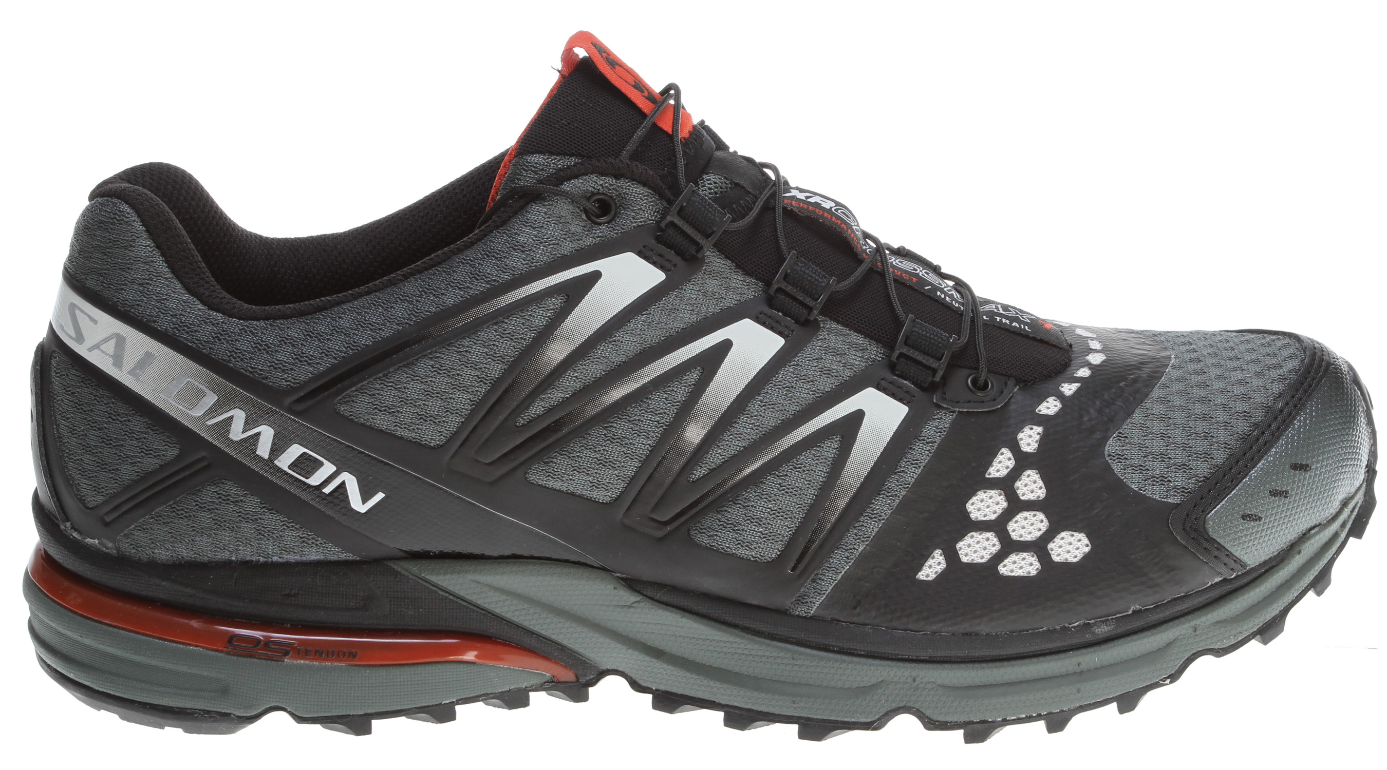 Camp and Hike High mileage training shoe for neutral runners who want one shoe from door to trail.Key Features of the Salomon XR Crossmax Neutral Hiking Shoes: Weight: 12oz Stretch air mesh upper Friction free lace eyelet Sensifit Lace pocket Sensiflex Quicklace Women's specific last Textile lining Contagrip LT, Contagrip HA, Non-marking Contagrip OS Tendon Ortholite Molded EVA Midsole height: 10.5mm/23mm - $94.95