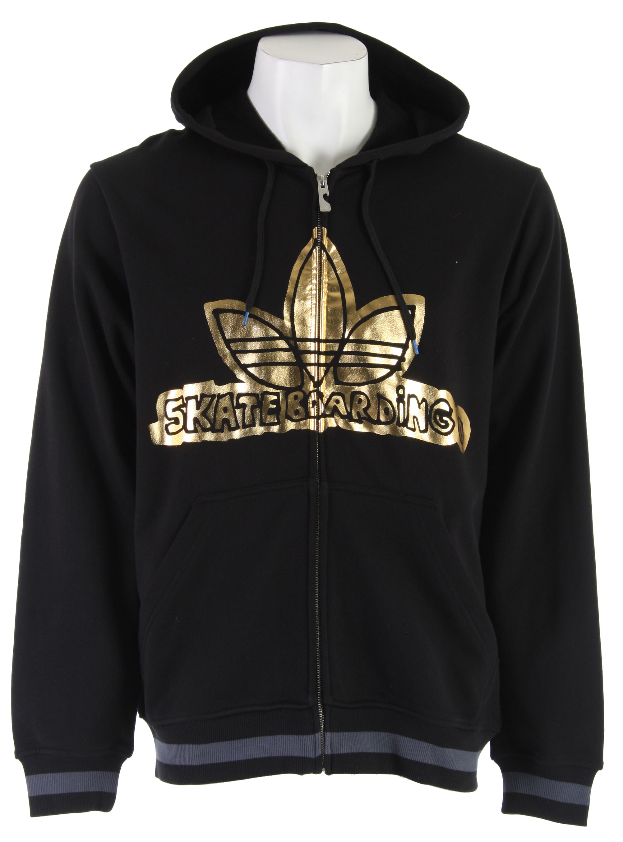 Fitness Is Regular fit with a full zipper. Drawstring hood and a large Adidas logo on the chest. Front pouch pockets. This hoodie is 80% cotton/20% poly. - $38.95
