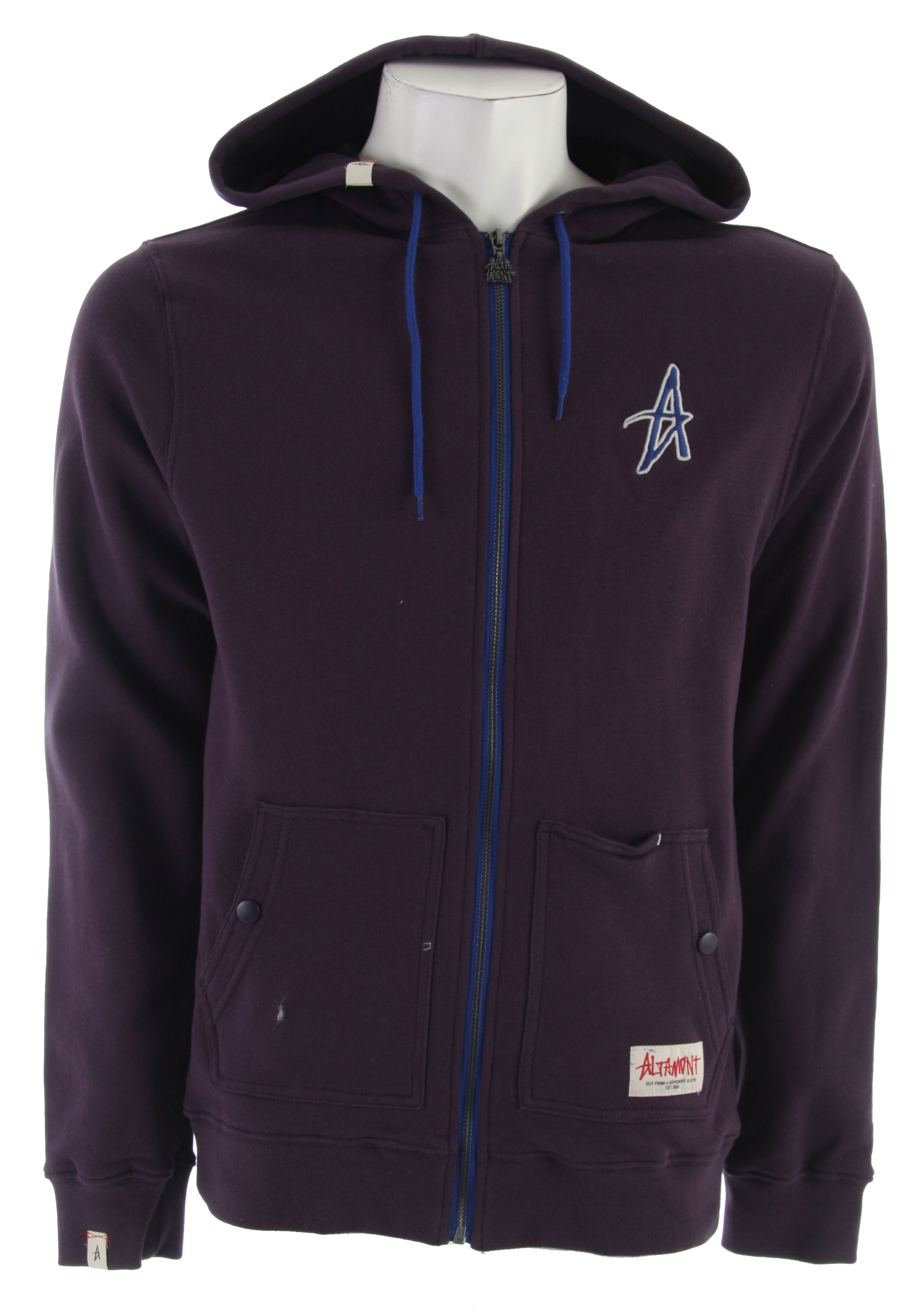 Fitness The Barrio Zip Hoodie from Altamont.Key Features of the Altamont Barrio Zip Hoodie Deep Purple:100% cotton zip hood fleece Contrast front zip Mesh lined hood Embroidered A logo on chest Altamont custom trim package - $38.95