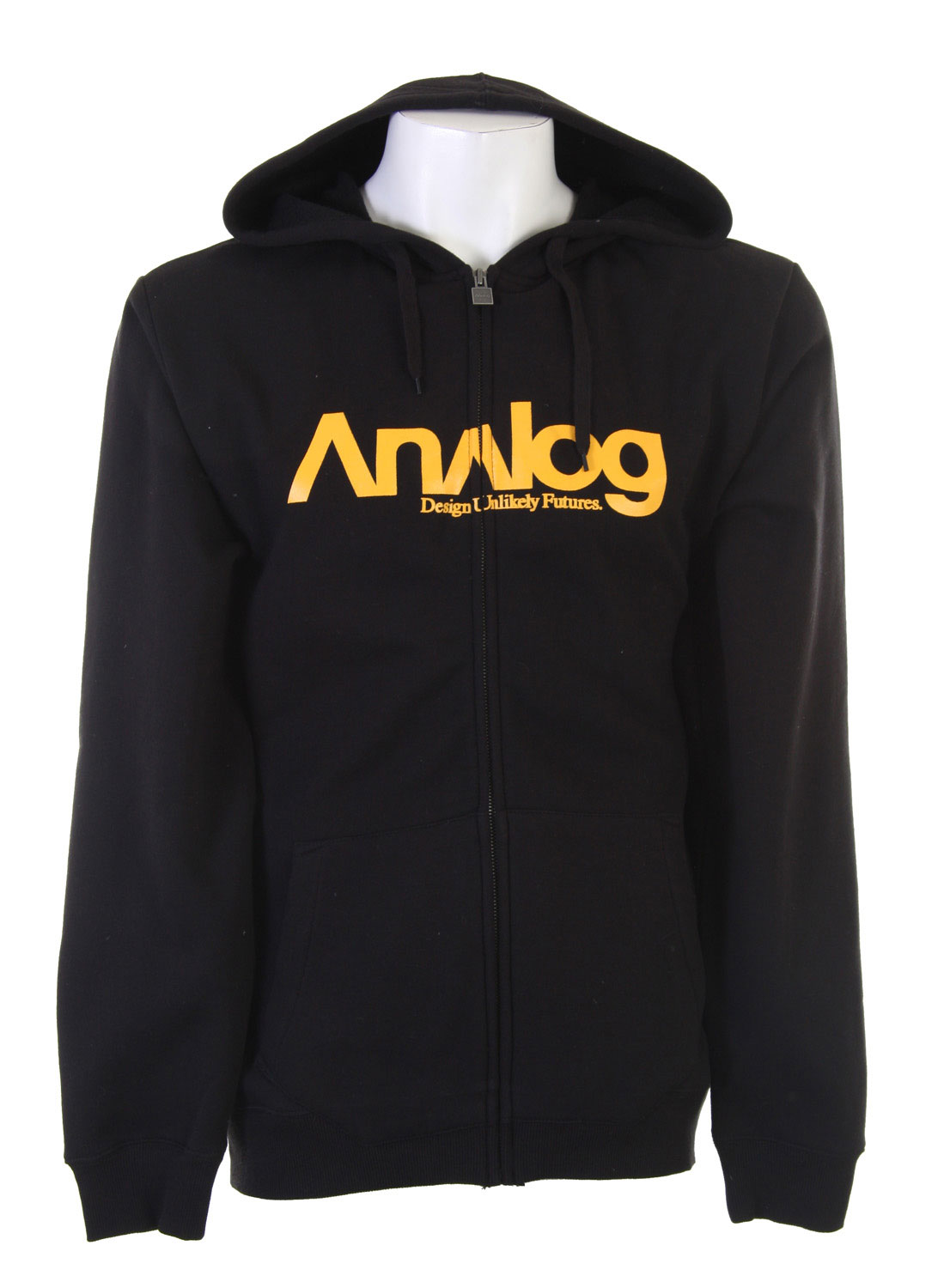 "Ski This particular Analog hoodie is an absolute must-have from a very respectable name in the ski and snowboard clothing community. The hoodie is purposely composed of only 80% cotton in order to regulate the proper proportions of the apparel. The trusted logo of ""Analog"" is printed straight across the front of the hoodie, bisected by the zipper, in bright yellow font,an effort to accentuate the contrast between the hoodie and the text so the brand of the hoodie is even more visible. Most importantly, the fleecy warmth of the hoodie is enough to keep you warm on the hills or in the lodge.Key Features of the Analog Enterprise Fullzip Hoodie: 80% Cotton, 20% Polyester / 330Gm Fleece Screen Printed Logo On Chest Reg Fit - $31.95"