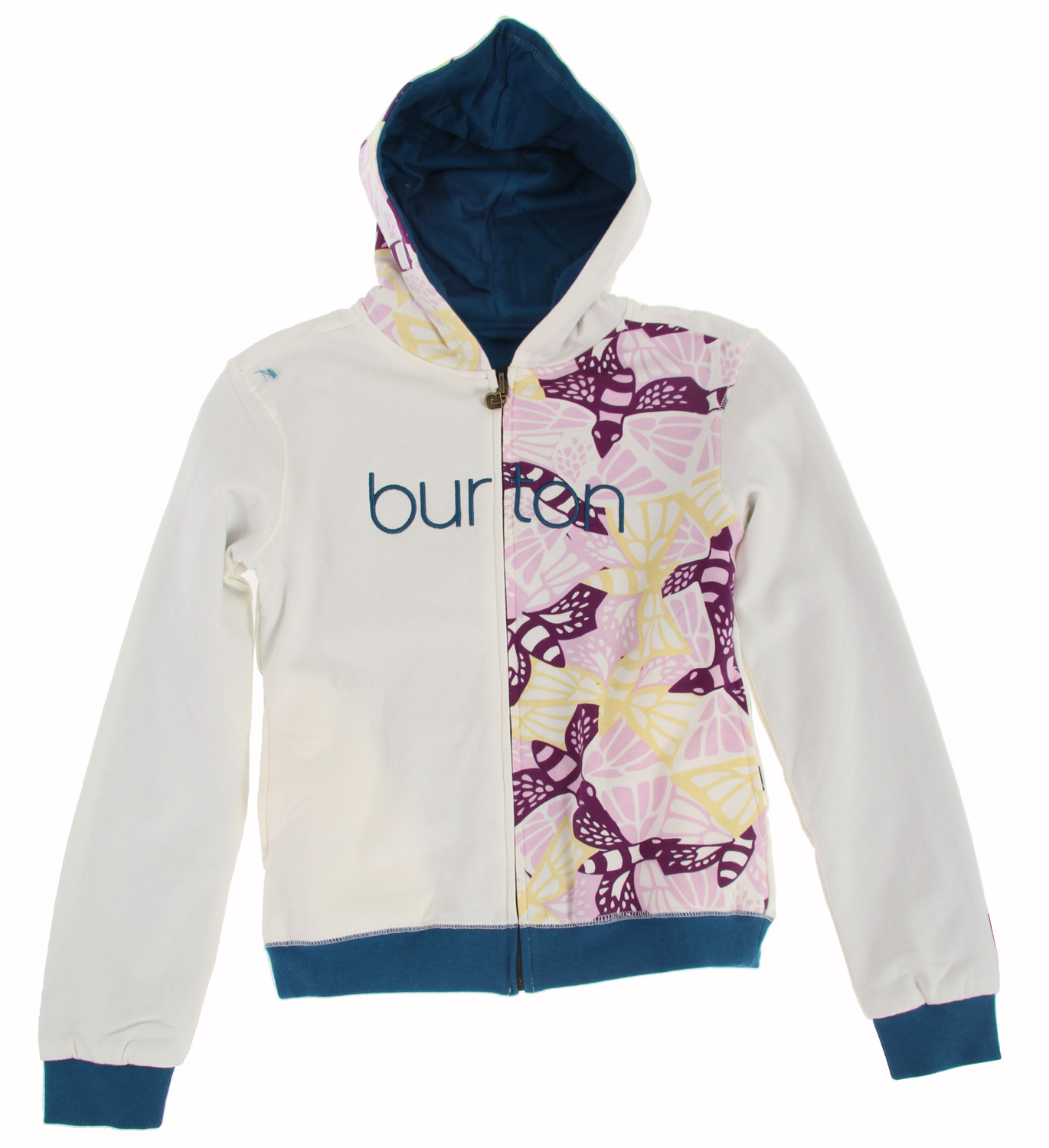 Snowboard Key Features of the Burton Butterlove Girl's Hoodie: 95% Cotton, 5% Spandex, 280G Reversible Full-Zip Hoodie with Water-Based Print Art Embroidery on One Side; Chest Applique on Reverse Side - $21.56