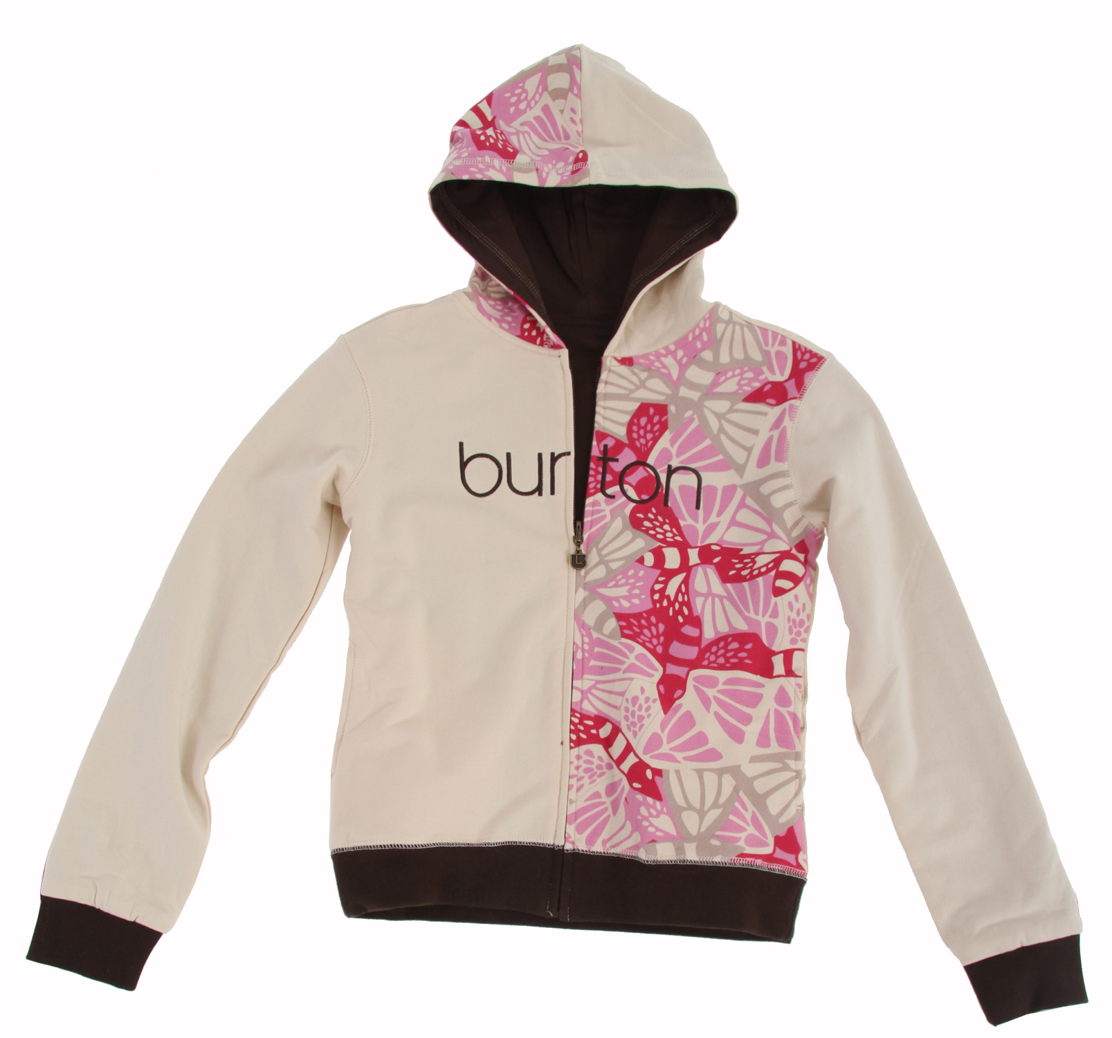Snowboard Key Features of the Burton Butterlove Girl's Hoodie: 95% Cotton, 5% Spandex, 280G Reversible Full-Zip Hoodie with Water-Based Print Art Embroidery on One Side; Chest Applique on Reverse Side - $26.95