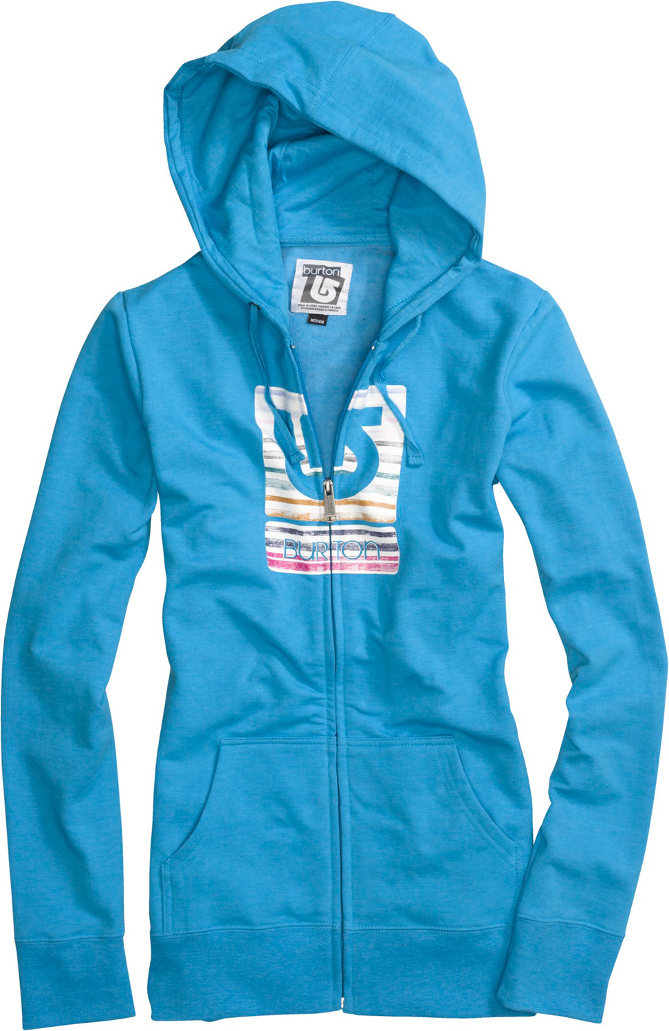 Snowboard Key Features of the Burton Her Logo Palette Stripes Basic Fullzip Hoodie: 85% Cotton, 12% Polyester, 3% Spandex, 280G Fleece Screen Print at Chest Regular Fit - $55.00