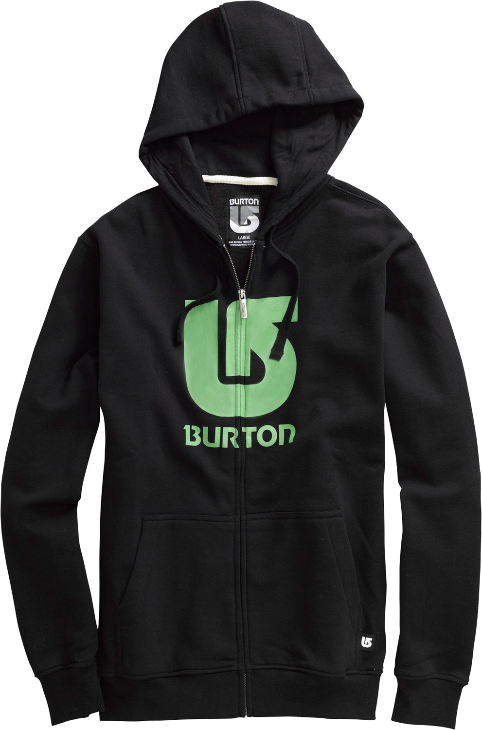 Snowboard Key Features of the Burton Logo Vertical Hoodie: 80% Cotton/20% Polyester, 300G Fleece Kangaroo Hand Warmer Pocket w/Interior Media Stash Signature Fit Hidden Side Seam Stash Pocket ProcessLogo on Chest S-XL - $40.95