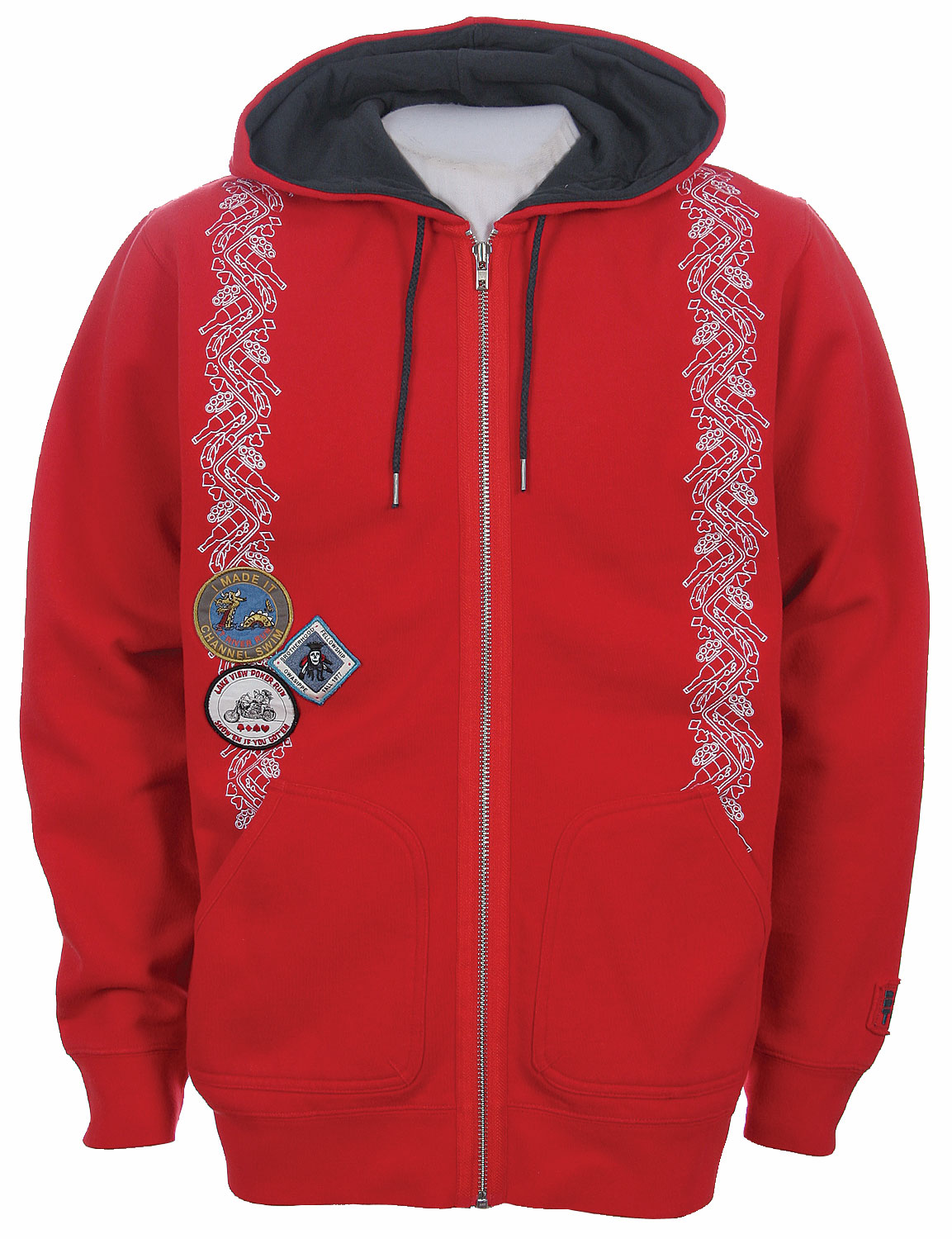 Snowboard A hooded sweatshirt with thick hide and cozy underside lining. The style of this one is something like boy scouts and a varsity jacket, as it has patches on it. The patches feature a happy sea monster dragon, a royal skeleton, and a creature speeding along on a motorcycle. Whatever earned these badges must've been fun. There's also a pattern along the sides of the front akin to collegiate honors.    Made of eighty-percent cotton and twenty-percent polyester, the warm hoodie can be bought in a number of sizes.Key Features of the Burton Noname Hoodie La Gray:  80% Cotton/20% Polyester. - $29.95