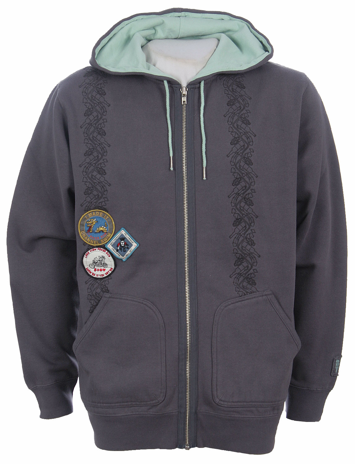Snowboard A hooded sweatshirt with thick hide and cozy underside lining. The style of this one is something like boy scouts and a varsity jacket, as it has patches on it. The patches feature a happy sea monster dragon, a royal skeleton, and a creature speeding along on a motorcycle. Whatever earned these badges must've been fun. There's also a pattern along the sides of the front akin to collegiate honors.    Made of eighty-percent cotton and twenty-percent polyester, the warm hoodie can be bought in a number of sizes.Key Features of the Burton Noname Hoodie La Gray:  80% Cotton/20% Polyester. - $14.95