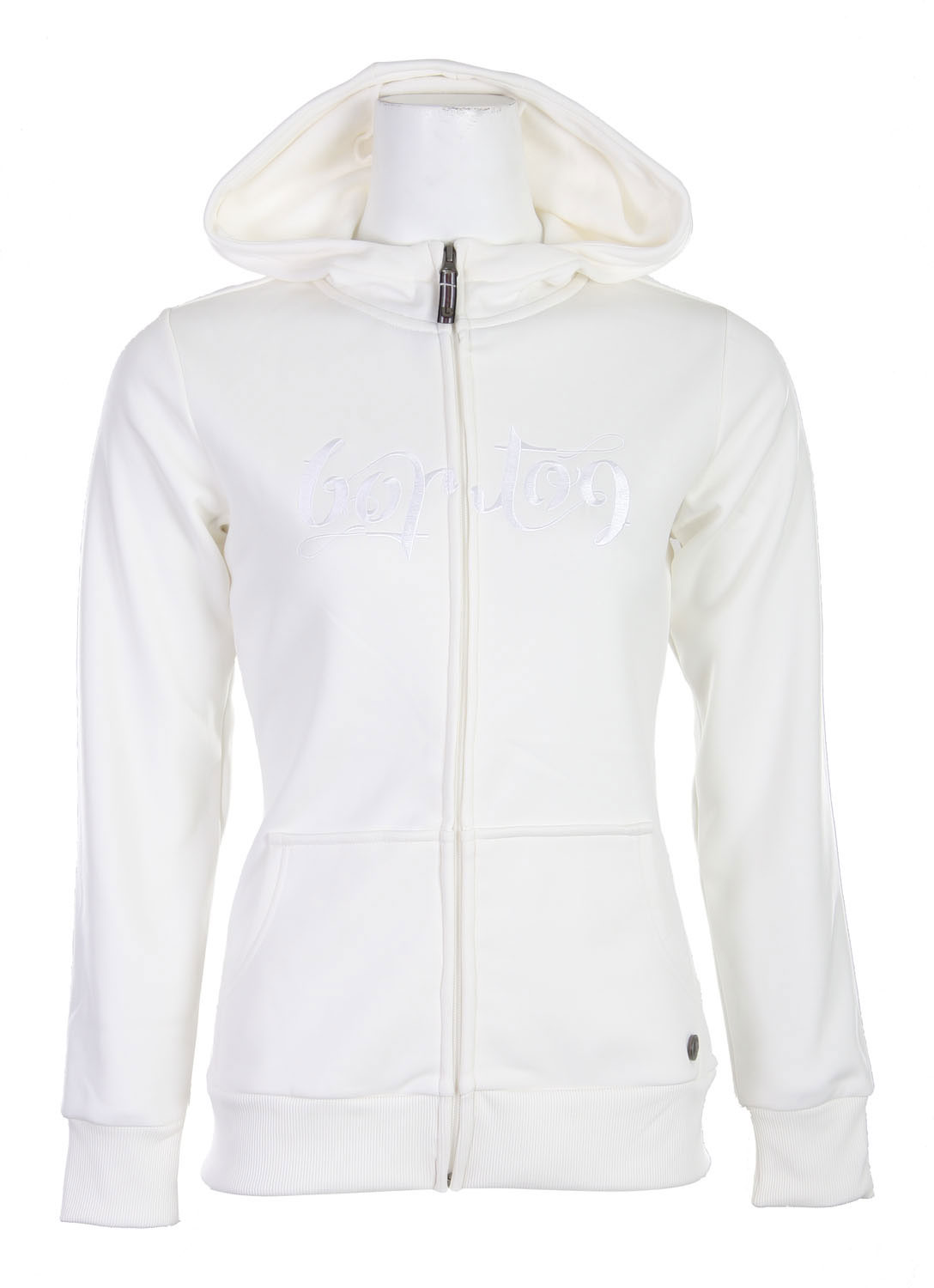 "Snowboard This slim fit women's hoodie from Burton would make an awesome addition to any wardrobe. ""Burton"" is embroidered across the chest in a neat scrawly script. Other unique details include a cool miniature watch strap inspired tab on the tag and another little logo tag on the left hip. This hoodie has got some deep pockets, they wrap around the front of your hip for maximum depth, helpful both for carting around keys and phones, and for keeping your hands warm.Key Features of The Burton Scoop Women's Hood: DryRide Thermex Fleece Fulltime Hoodie Kangaroo Handwarmer Pocket Rib Cuffs - $26.95"