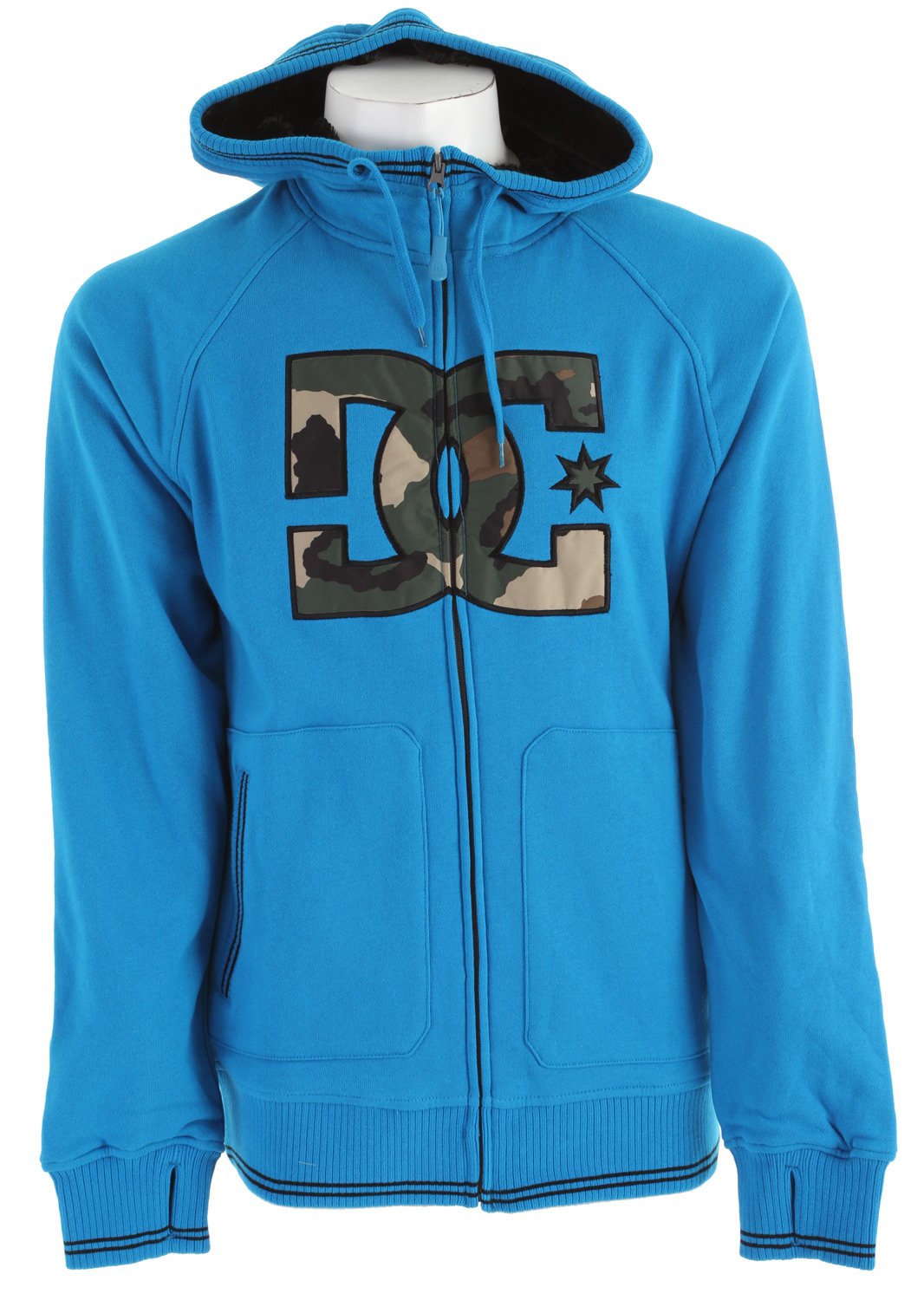 Skateboard Key Features of the DC Harper Hoodie: Water repellent fleece with fur hood and body lining Thumb hole cuffs Logo applique and media pocket Standard fit Full zip hood 60% cotton/40% polyester - $59.95