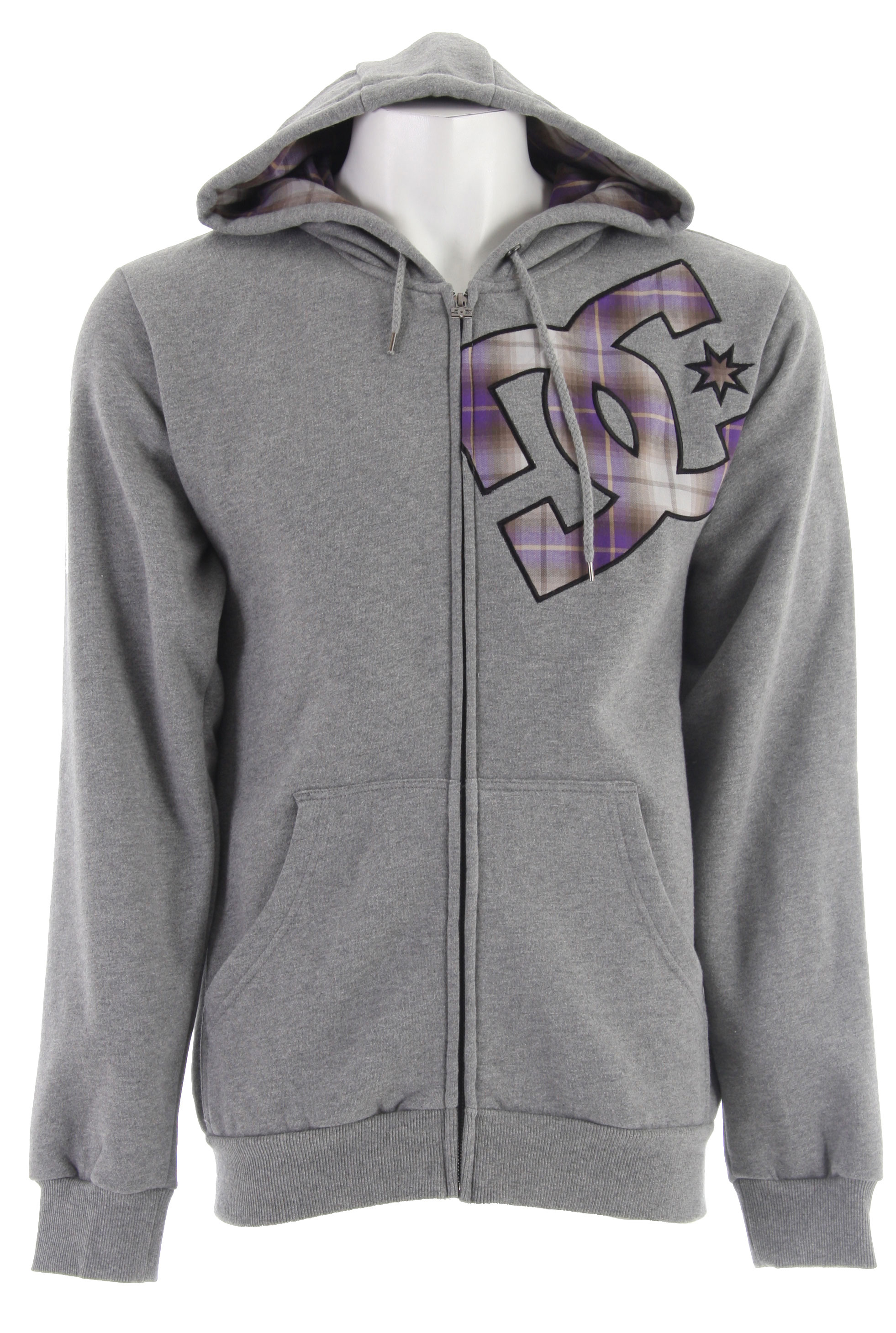 Skateboard Rip it up on the course or on the slopes with this super fly hoodie from DC Reaction. This must have gear features a full zipper and hood to keep the old noodle warm on those chilly days. The DC Reaction logo in eye popping plaid keeps it true to the name, and the quality is there with the lined hood. You can be warm and rock the current style from DC Reaction. Keep it within eyesight though because your buds will want to snatch it from your suave mitts!Key Features of the DC Reaction Full Zip Hoodie: Standard fit Woven plaid applique Hood lining 80% cotton/ 20% polyester - $24.46