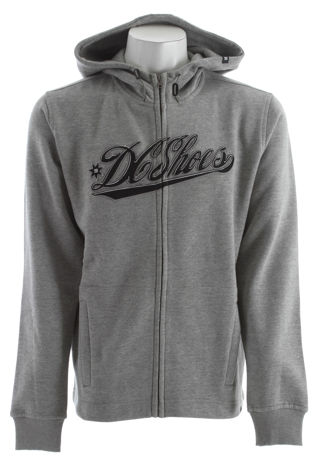 Skateboard DC's Riders fleece zipup hoodie will make you want to clean up your late model sedan and join a car club.  Fleece   Logo, Graphic    Hooded   Full Zip   Regular Fit   2 Exterior Front Pockets   Midweight Insulation - $23.95