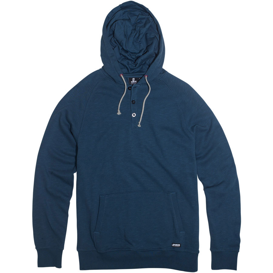 Ski Are you tired of being cold? Forum Kurby hoodie brigade blue is your answer. Just wait until you can feel this plush and cozy 100% cotton slub french terry. Its not an uncomfortable heavy or bulky hoodie to be wearing its more slim lined and just feels great against your skin or worn over a tee-shirt. It is really perfect when just lounging around the house, or you can wear to the mountains on your next ski trip. I love my pullover and the pockets are great, and the Slub french terry is really soft and comfortable.Key Features of the Forum Kurby Hoodie: Slub french terry pullover henley with hood Slim fit 100% cotton slub french terry, 300g Hidden media pocket - $29.95