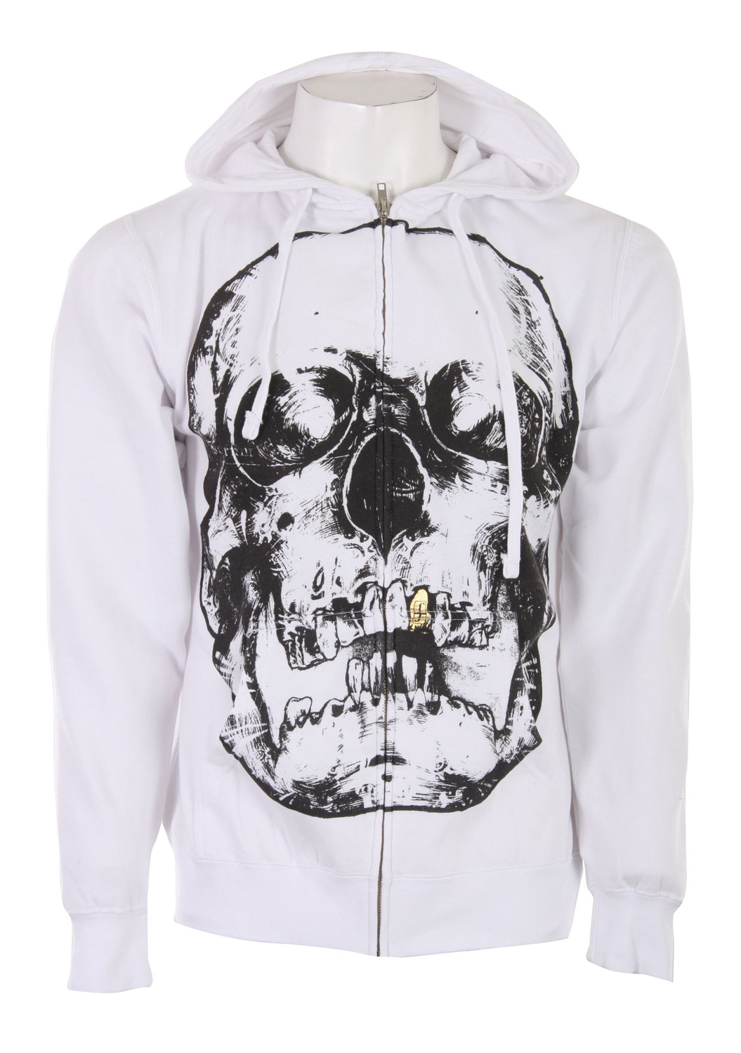 Skateboard The Forum Skull Zip Hoodie is for those who want to make a statement. This hoodie features a large skull design made of chino ink with a gold foil tooth. It come in mineral wash and is made of 80% cotton and 20% polyester. With its drawstring hood and full zip design with kangaroo pockets, this hoodie can easily be taken from skating to school. With a great price tag to boot, this sweatshirt is the perfect addition to any edgy skater's wardrobe.Key Features of the Forum Skull Zip Hoodie: 80% Cotton/20% Polyester Mineral wash Chino ink artwork with gold foil tooth - $20.95