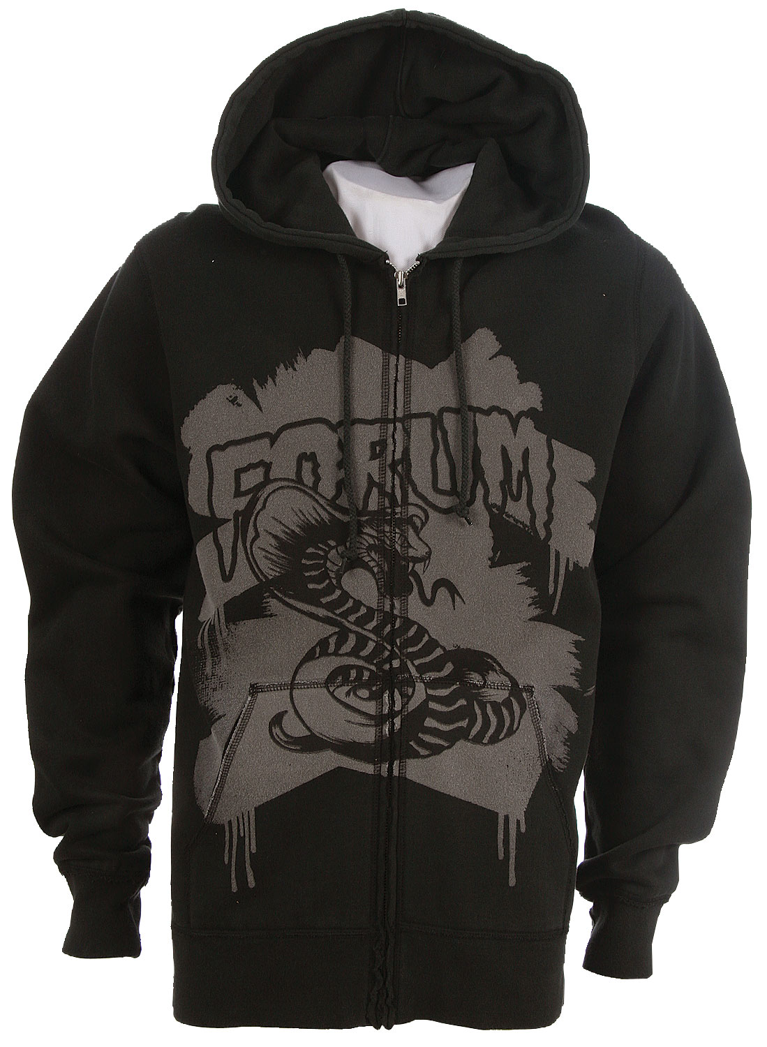 The Forum Youngblood Full Zip Custom Hoodie. 80% cotton, 20% polyester with snake screen print on front and rat Screen print on back. - $20.95