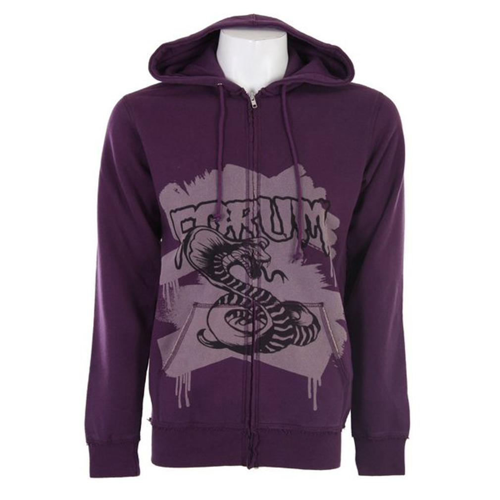 This Forum Young Blood Hoodie has an edgy look perfect for the guy trying to make a statement. Its full zip design with drawstring hood and kangaroo pockets make this hoodie stylish and functional. This hoodie features the Forum logo with a large rattlesnake emblazoned across the chest. It slim fit and lightweight design will keep you warm and comfortable when you are on the go. Made from 80% cotton and 20% polyester, the Forum Young Blood Hoodie is a quality addition to you wardrobe.Key Features of the Forum Young Blood Hoodie Purple: 80% Cotton/20% Polyester - Slim Fit - $13.95