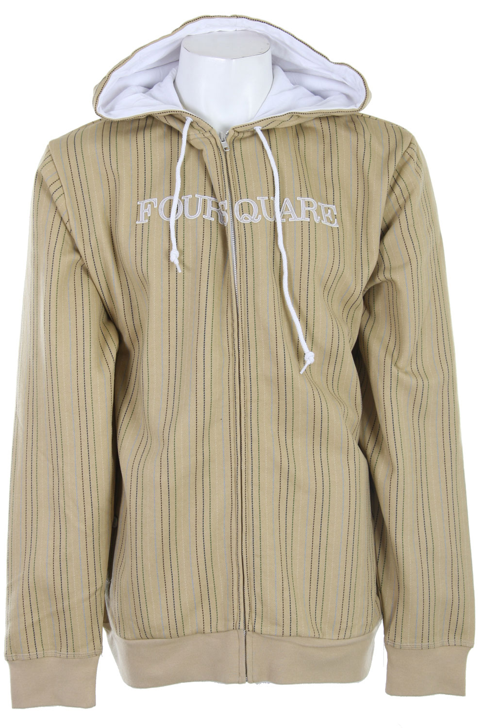Snowboard Foursquare Multi-Color Pinstripe Hoodie provides that extra warmth and comfort for that slightly chilly day.  This pinstriped hoodie adds texture to the look making it unique from plain hoodies seen everywhere else.  Made with cotton and polyester, it's guaranteed comfort and softness to the touch.  Ideal for everyday wear, keep warm in this cozy hoodie day or night. - $20.95