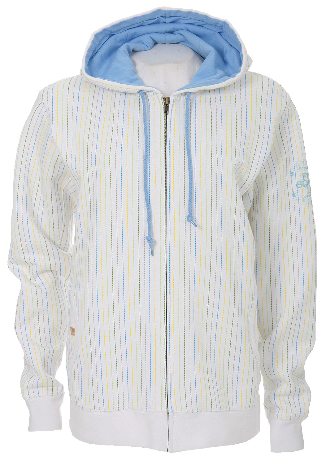 Snowboard The Foursquare Multicolor Pinstripe Zip Hoodie keeps things casual, but crisp. This 80% cotton 20% polyester jacket features and all over pinstripe design and felt Wordmark with stitch. The jersey hood lining and front pockets keep this hoodie functional on top of being fashionable. Its woman's sizing provides for a slightly contoured fit with a feminine flair. The Foursquare Multicolor Pinstripe Zip Hoodie will keep you looking cool and casual when the temperatures begin to drop.Key Features of The Foursquare Multicolor Pinstripe Hoodie: 80% Cotton / 20% Polyester / 360gm All Over Multicolor Pinstripe Felt Wordmark with Stitch Jersey Hood Lining - $29.95