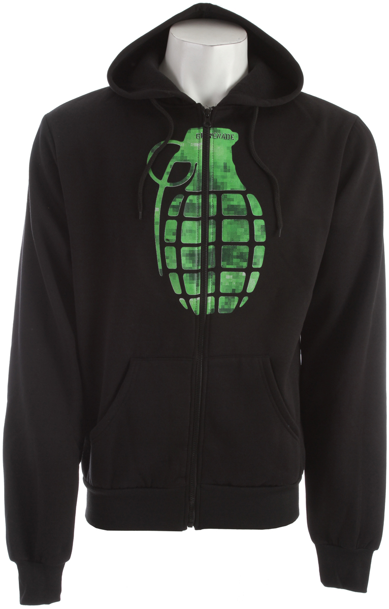 Key Features of the Grenade Chemical Stamp Hoodie : 80/20 Blended fleece Screen print graphic Kangaroo pocket Classic zip up fit - $25.95