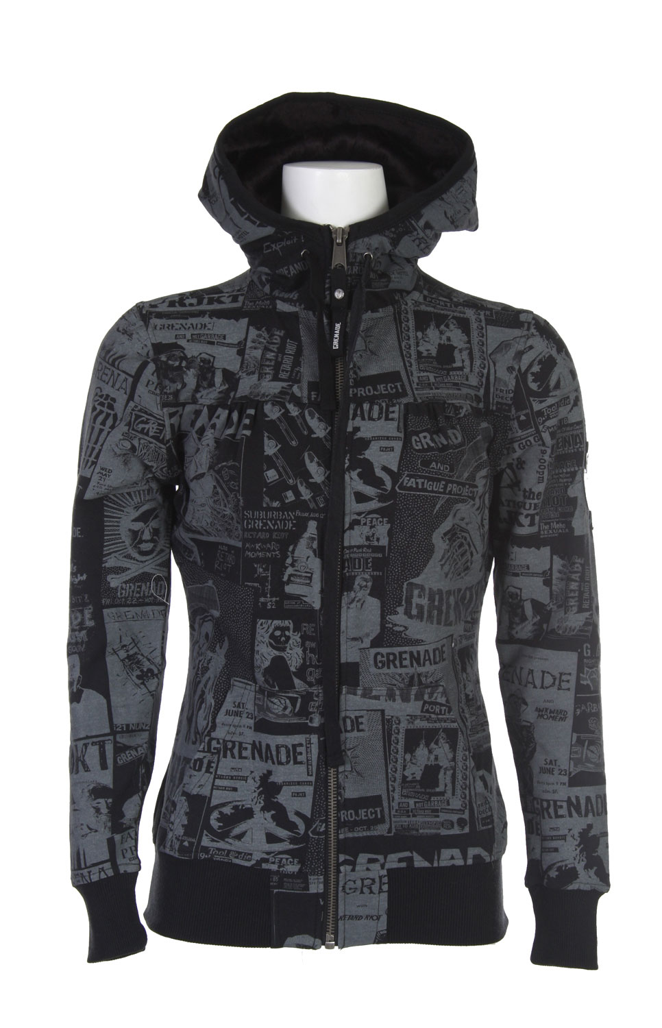 The Grenade Flyer Women's Hoodie - Vergan Fur Lined Hood / Shirred Front / Empire Yoke - $41.95