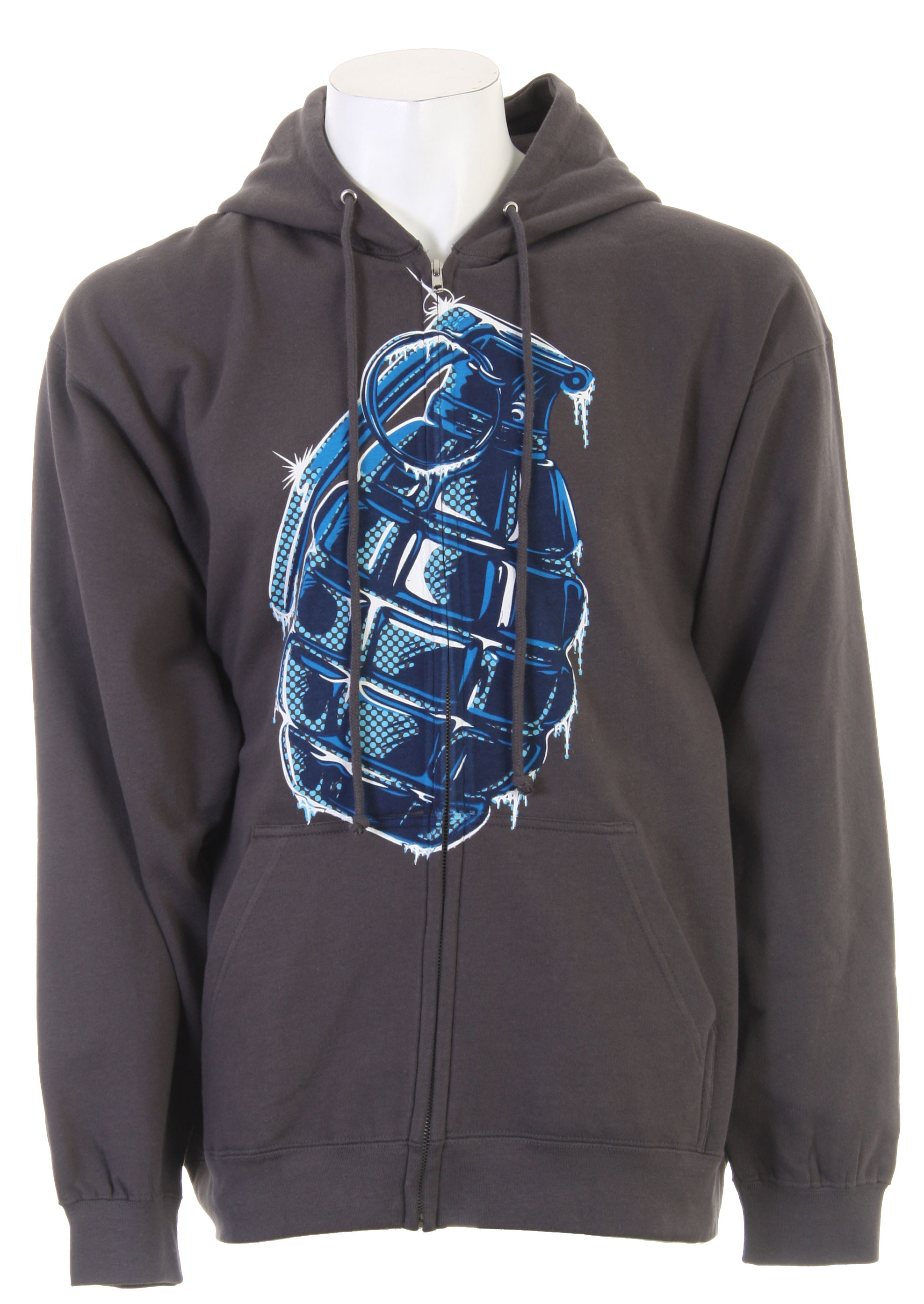 100% CottonKey Features of the Grenade Iced Zip Hoodie Gray:Full zip hoodie Screen print at front Kangaroo hand pocket Ribbed cuffs and hem - $23.95