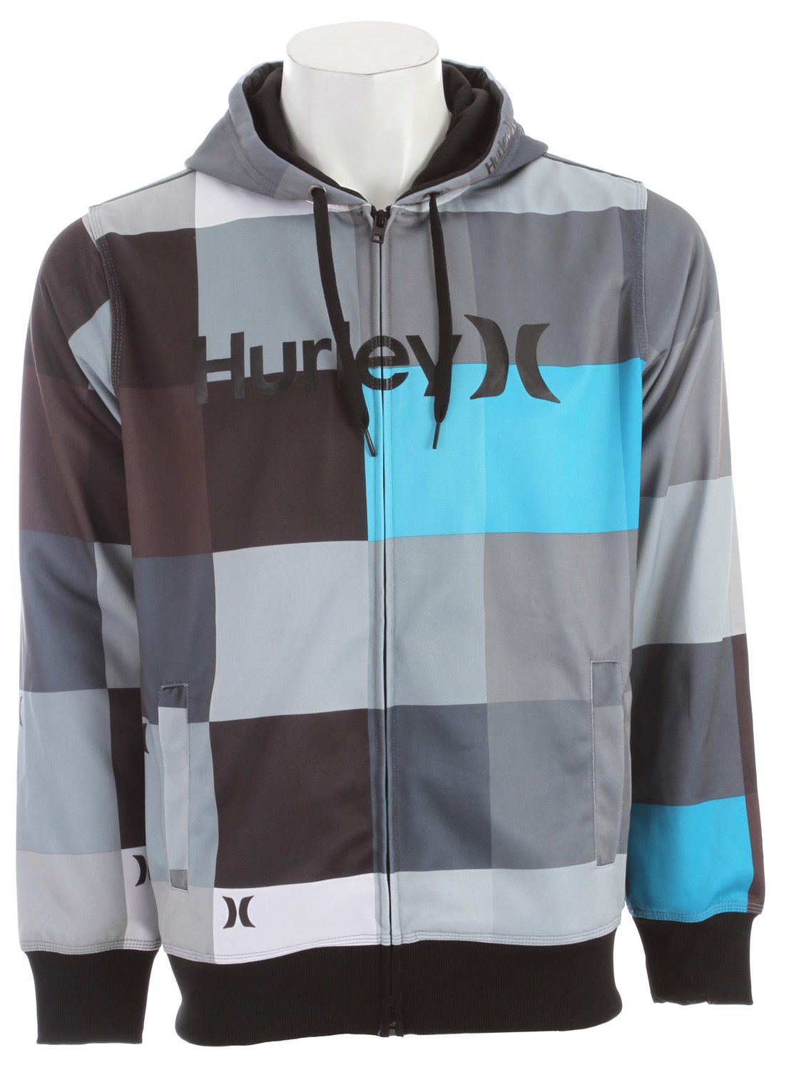 Surf Key Features of the Hurley Multi Zip Hoodie: Regular Fit -100 Poly tricot 300gm Sublimated hooded full zip with key boardshort prints of the season. One & Only high density logo on chest. - $48.95