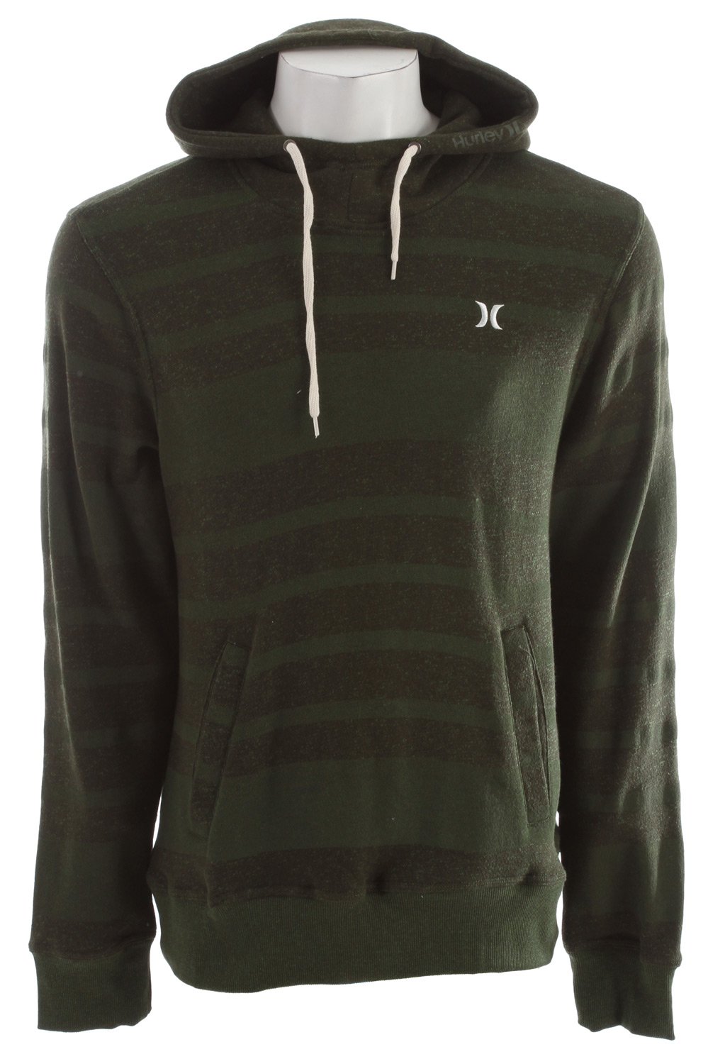 Surf Key Features of the Hurley Retreat All Stripe Hoodie: Regular Fit 60% Cotton/40% Polyester Hooded pullover fleece with welt pockets, engineered stripe, contrast drawstrings and embroidery on chest. - $41.95