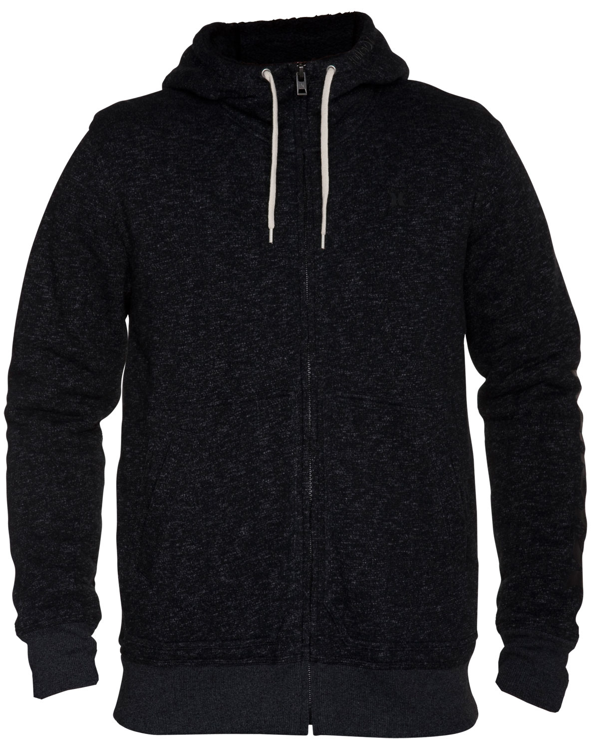 Surf Key Features of the Hurley Retreat Zip Hoodie: Regular Fit 60% Cotton/40% Polyester 270g Yarn Dye Slub contrast brush back French Terry. Zip fleece with plastic molded zipper and pouch pocket. Contrast drawcords and high density icon at left chest. Hurley high density at left hood. - $41.95
