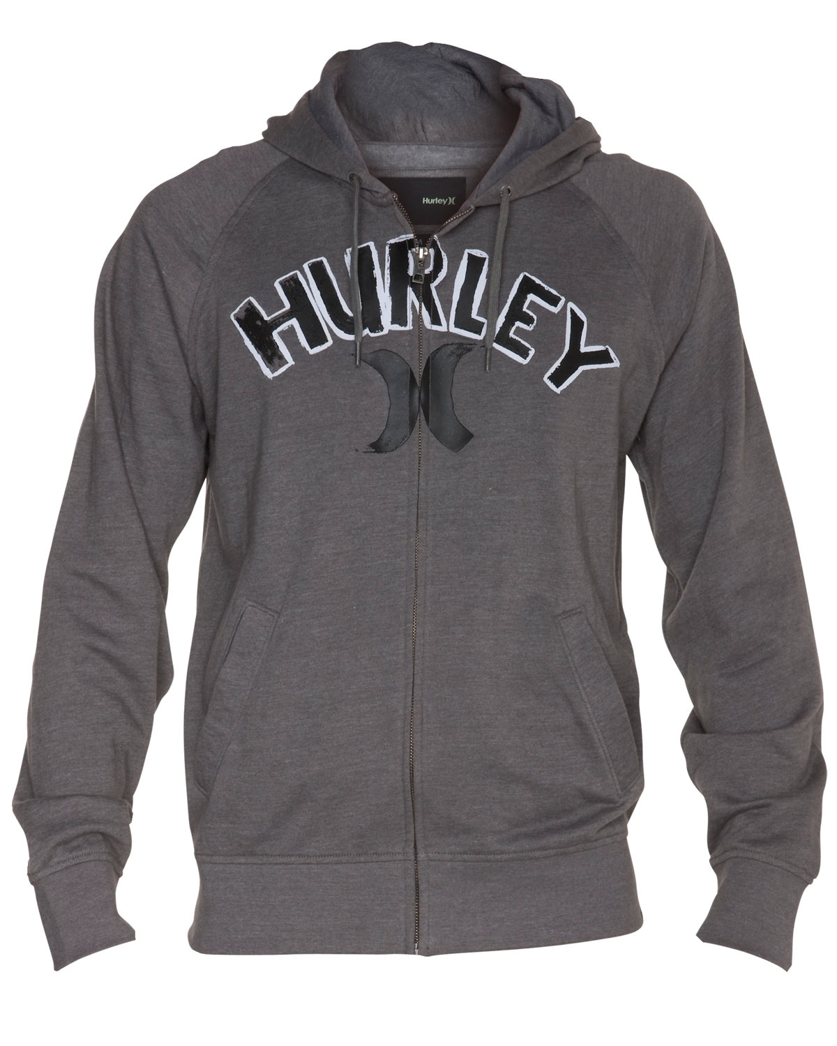Surf Key Features of the Hurley Unwritten Zip Hoodie: Raglan sleeve full zip hoodie 60% cotton/40% poly 240gm Front chest Hurley high density print - $41.95