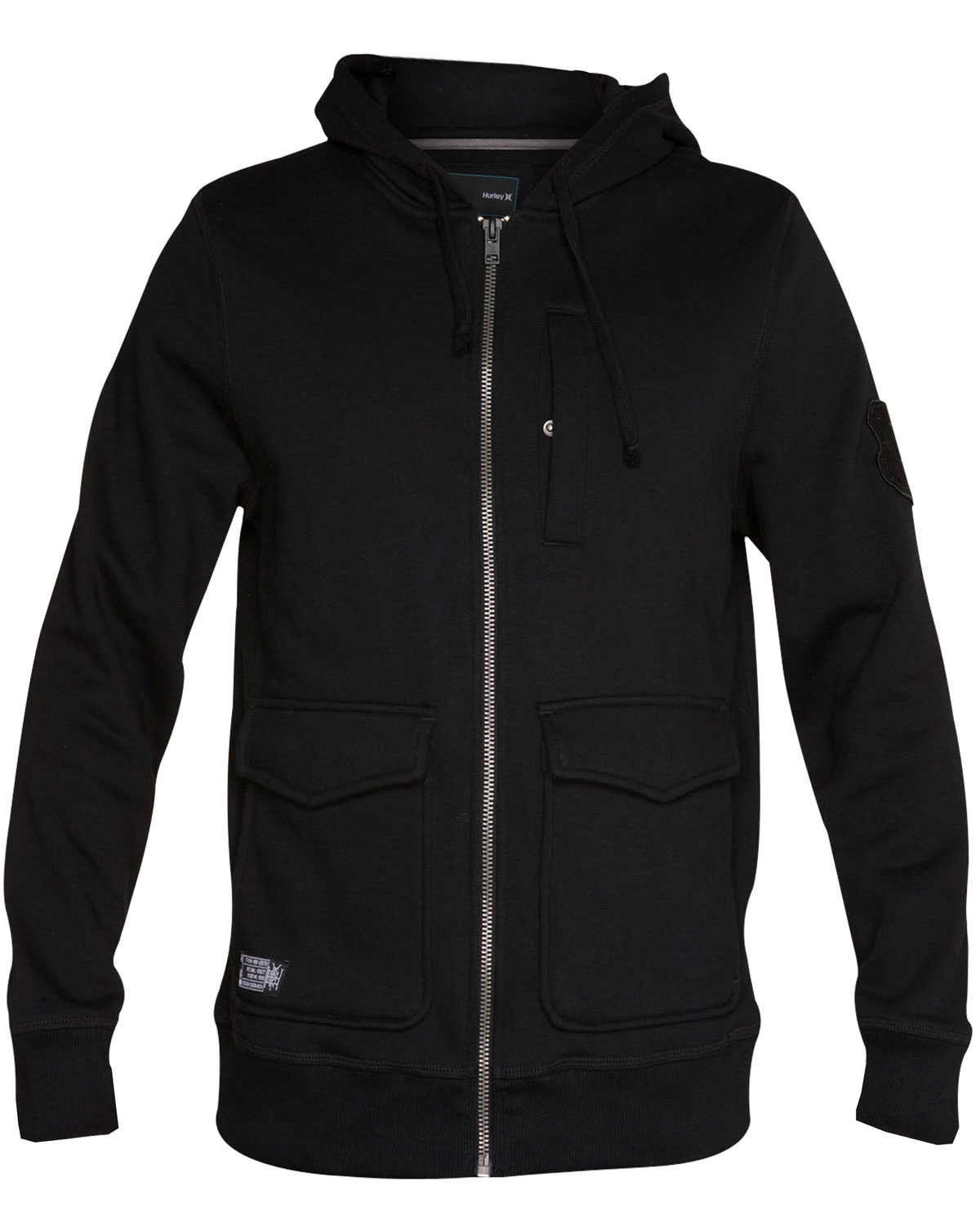 Surf Key Features of the Hurley Warrant Hoodie: Regular Fit 60% cotton/40% polyester Military workwear inspired full zip fleece with two lower pockets - $44.95