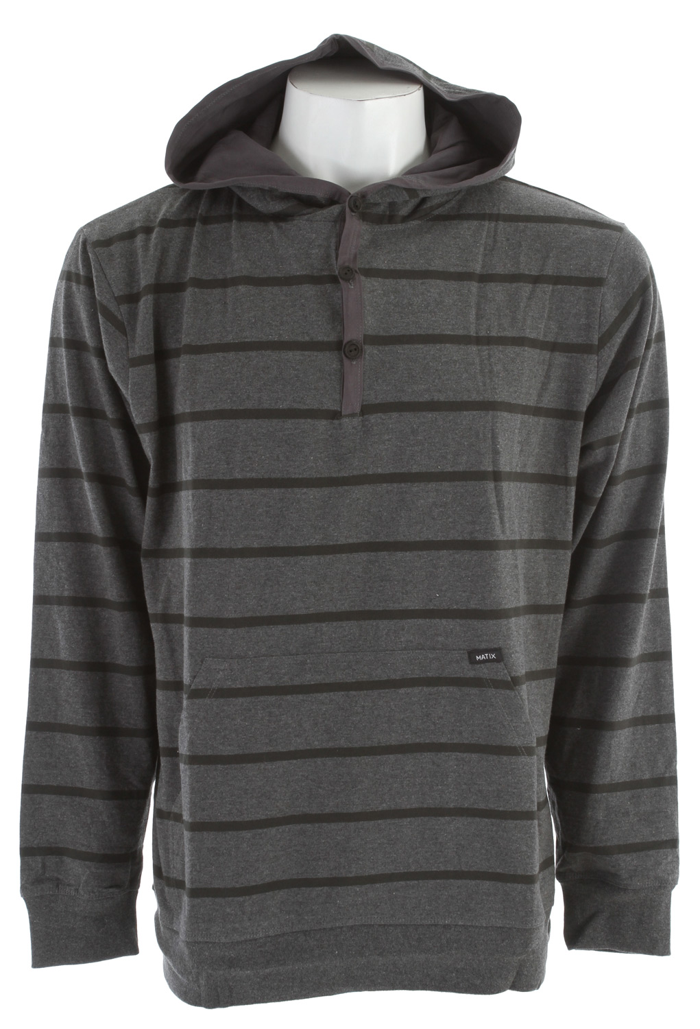 Key Features of the Matix Trugoy Hoodie: 55% cotton/45% poly, heavy-weight jersey 200g Heavyweight heathered jersey with yarn-dye stripes Rugby hood with kangaroo pocket Lightweight twill placket Hood binding and hood lining Coverstitch details Softener wash Wooden buttons Matix labeling - $37.95