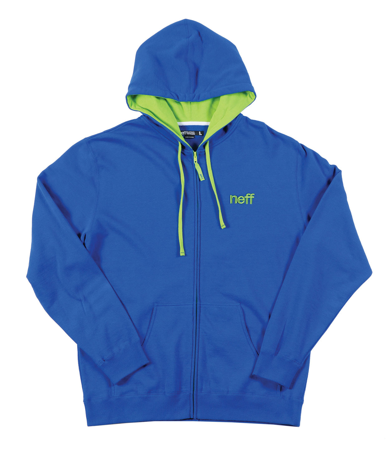 Skateboard This full zip hoodie is for daily use. Made from 80% cotton and 20% polyester This hoodie is designed to keep you warm on those chilly days.Key Features of the Neff Dailyhood Hoodie Blue:  Full zip hoodie  Contrast hood liner  Embroidered logo at chest  Ribbed cuffs and hem  Kangaroo pockets - $23.95
