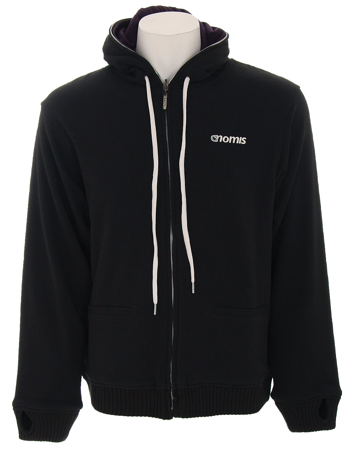 The Nomis Simom Referee Zip Hoodie - 80/20 Cotton / Poly French Terry / Reversible / Zips Half Way / 2 Color Knitted Stripe Pattern / Custom Zip Pull - Drawstring / Left Chest Embroidery - $39.95