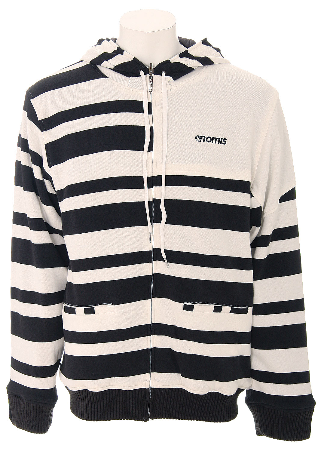 The Nomis Simom Referee Zip Hoodie - 80/20 Cotton / Poly French Terry / Reversible / Zips Half Way / 2 Color Knitted Stripe Pattern / Custom Zip Pull - Drawstring / Left Chest Embroidery - $49.95