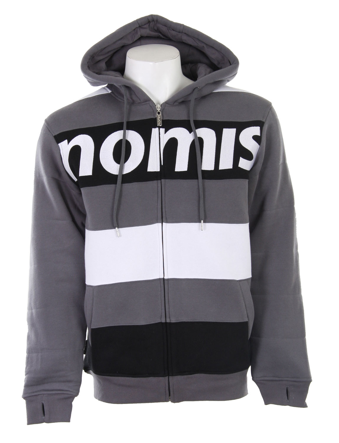 Looking for something that will keep you warm underneath your winter jacket? Sometimes the weather is just completely ruthless and you need to add some layers to your winter set up. Well a great way to add a ton of warmth to your outfit and still look great is the Nomis Tony II Hoodie. It's a quality made hoodie that has some weight to it, so it has the ability to keep you warm. The design is also great, it's a simple horizontal stripe design that gives it a slimming effect. The Nomis logo across the chest really brings this whole hoodie all together and gives it an all around great look.Key Features of the Nomis Tony II Hoodie Charcoal: 80% Cotton/20% Poly - 270 gm - $28.76