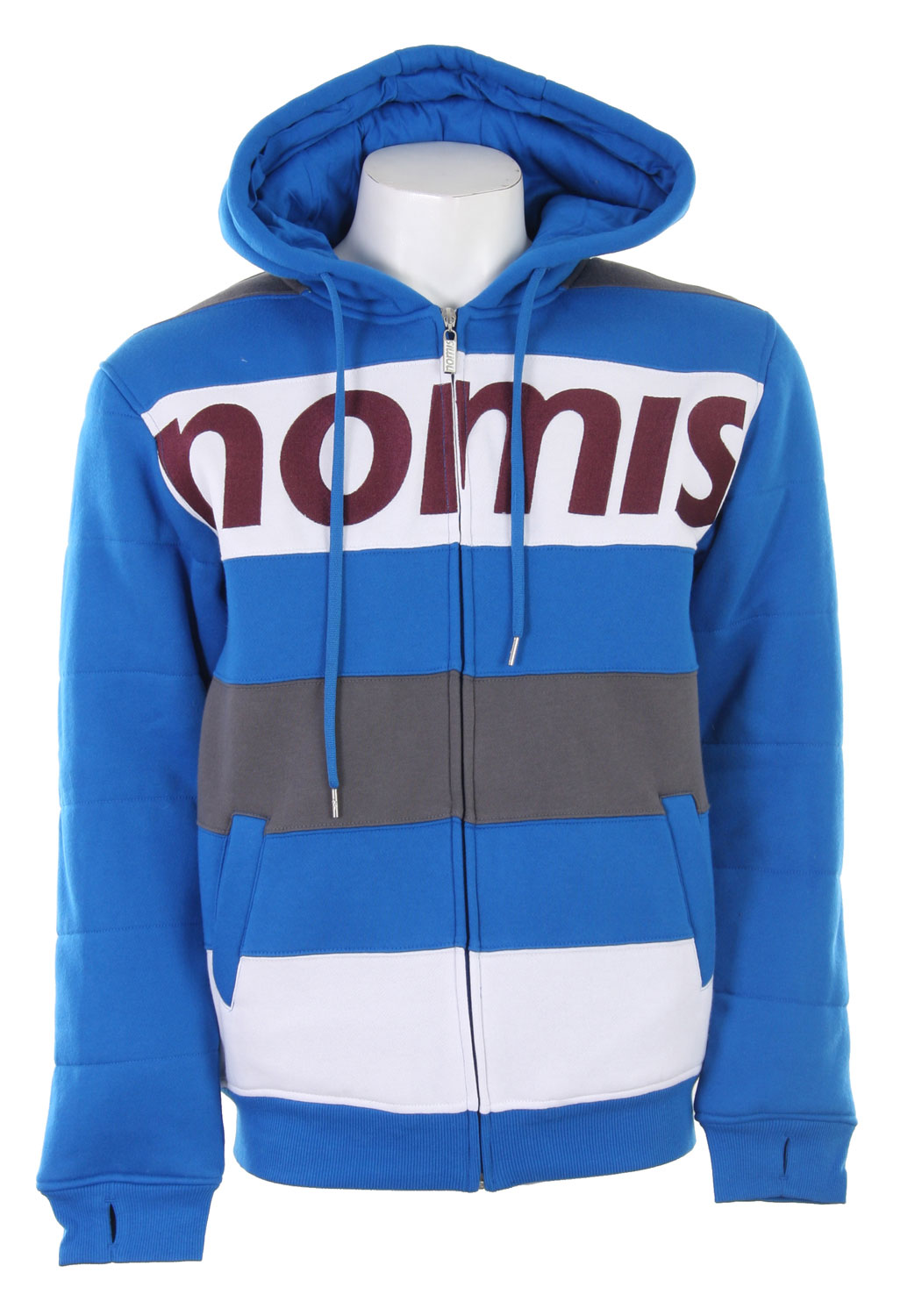 Looking for something that will keep you warm underneath your winter jacket? Sometimes the weather is just completely ruthless and you need to add some layers to your winter set up. Well a great way to add a ton of warmth to your outfit and still look great is the Nomis Tony II Hoodie. It's a quality made hoodie that has some weight to it, so it has the ability to keep you warm. The design is also great, it's a simple horizontal stripe design that gives it a slimming effect. The Nomis logo across the chest really brings this whole hoodie all together and gives it an all around great look.Key Features of the Nomis Tony II Hoodie Charcoal: 80% Cotton/20% Poly - 270 gm - $35.95