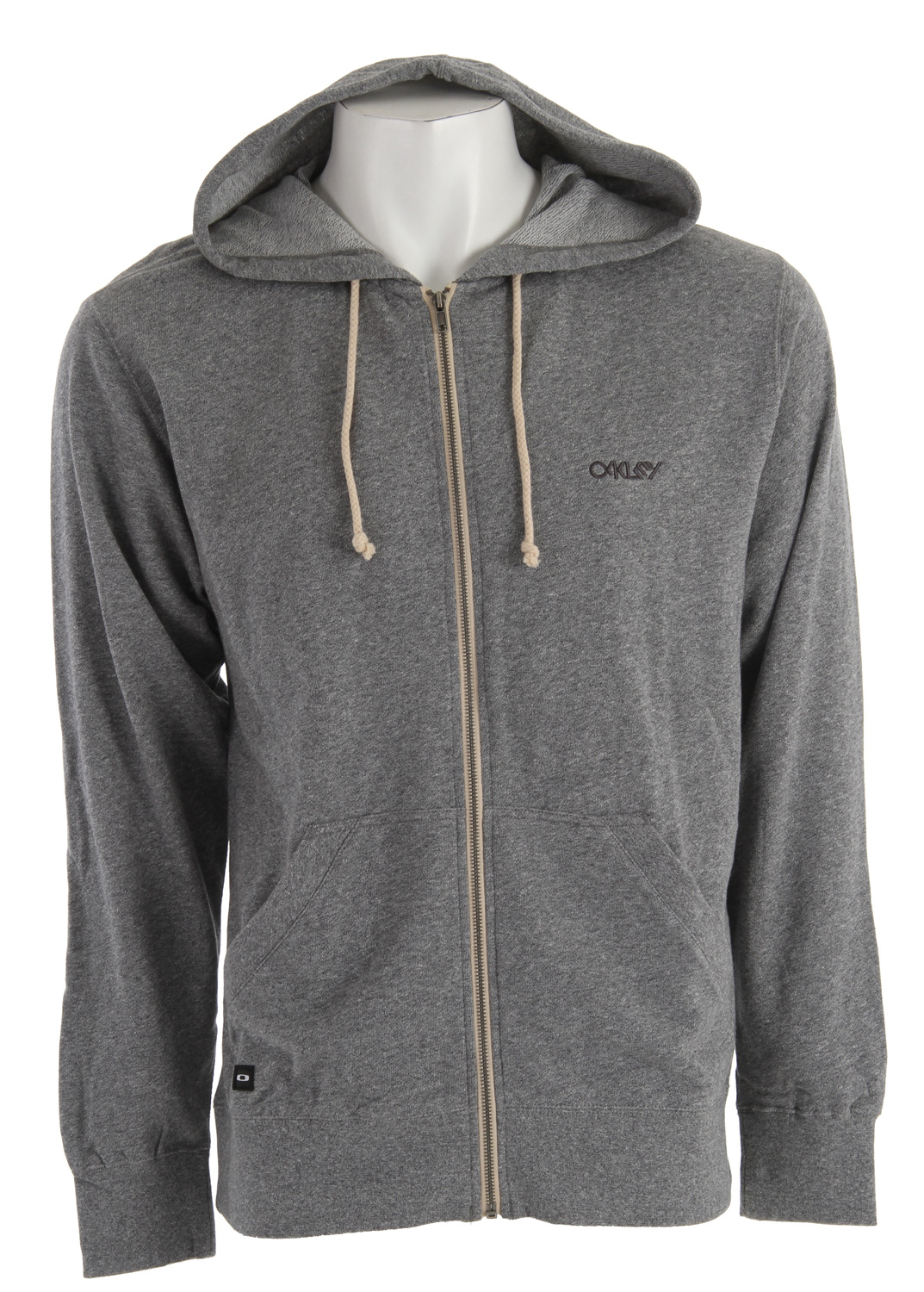 Full zip french terry lightweight heathered hoodie with marsupial hand pockets, chest logo embroidery and icon label. 80% Cotton/20% Polyester - $37.95