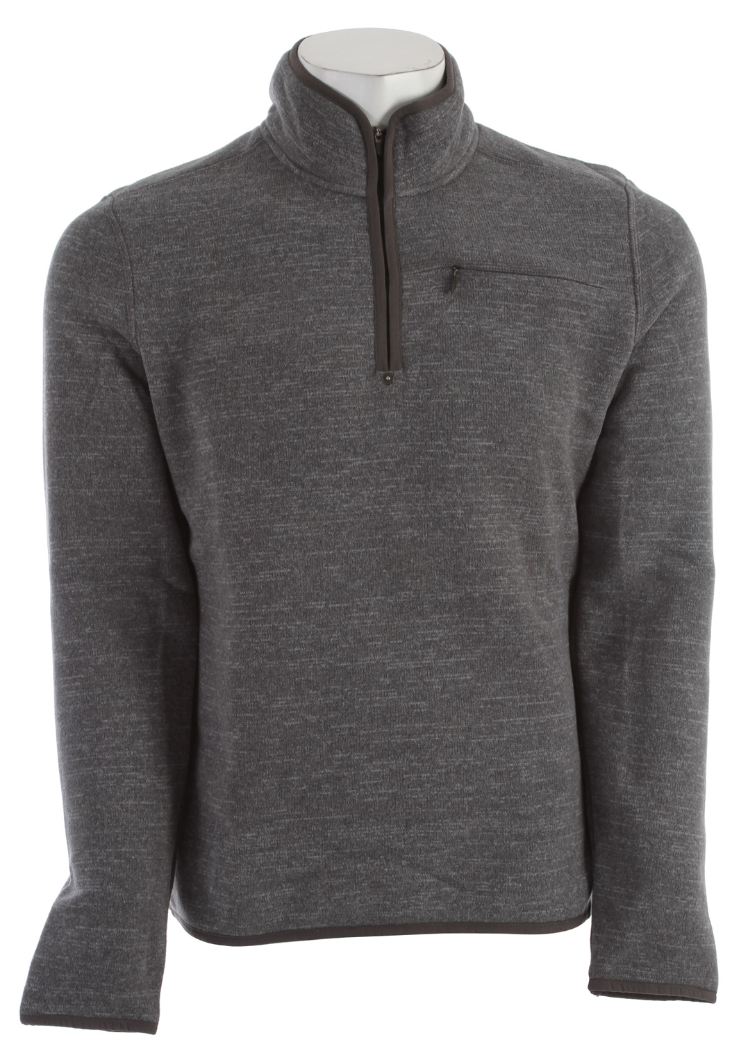 Key Features of the Prana Bryce 1/4 Zip Sweater: Performance heathered sweater face fleece with thermal properties Front chest pocket with invisible zipper closure Peached nylon binding Back yoke embroidery Front hem loop label Standard fit 100% polyester - $61.95