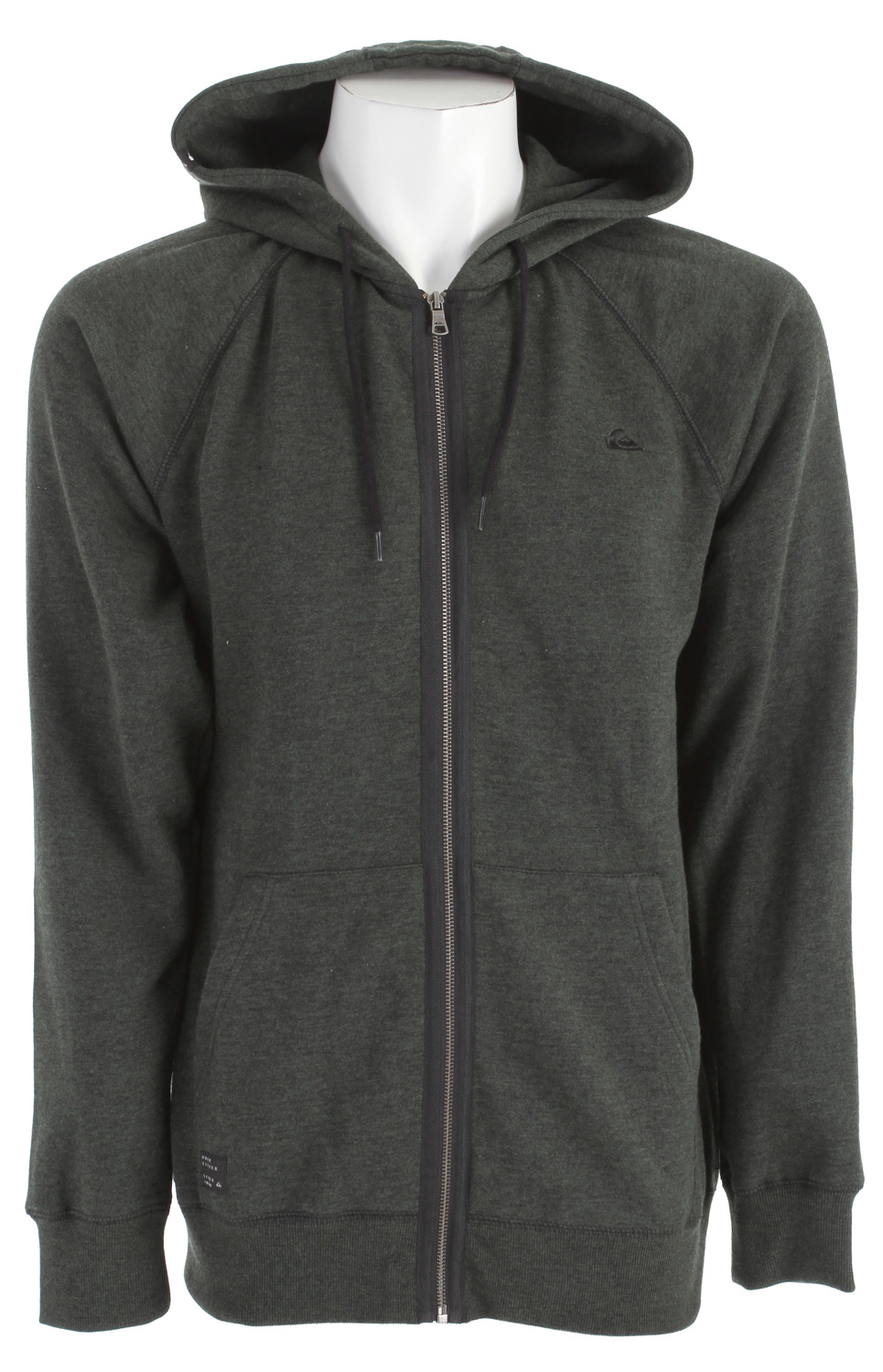 Surf Key Features of the Quiksilver Taser Hoodie: 53% cotton/47% polyester 280 gsm duo dye burnout full zip fleece with self hoodliner Raglan sleeve with coverstitch Mountain wave badge at left chest Contrast drawcords Exterior woven labels, ribbed cuffs/hem Garment wash with softener - $31.95