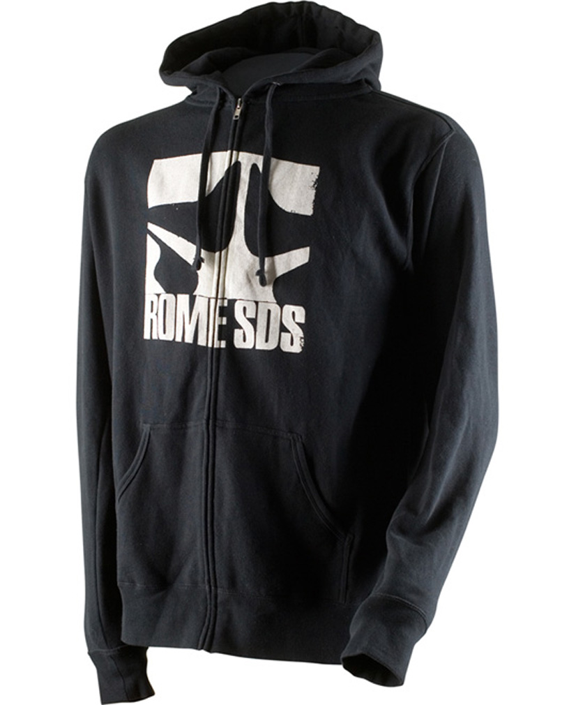 Key Features of the Rome Logo Zip Hoodie Black : Full zip hoodie Lighter weight 80/20 cotton-poly blend fleece Large screen print - $41.95