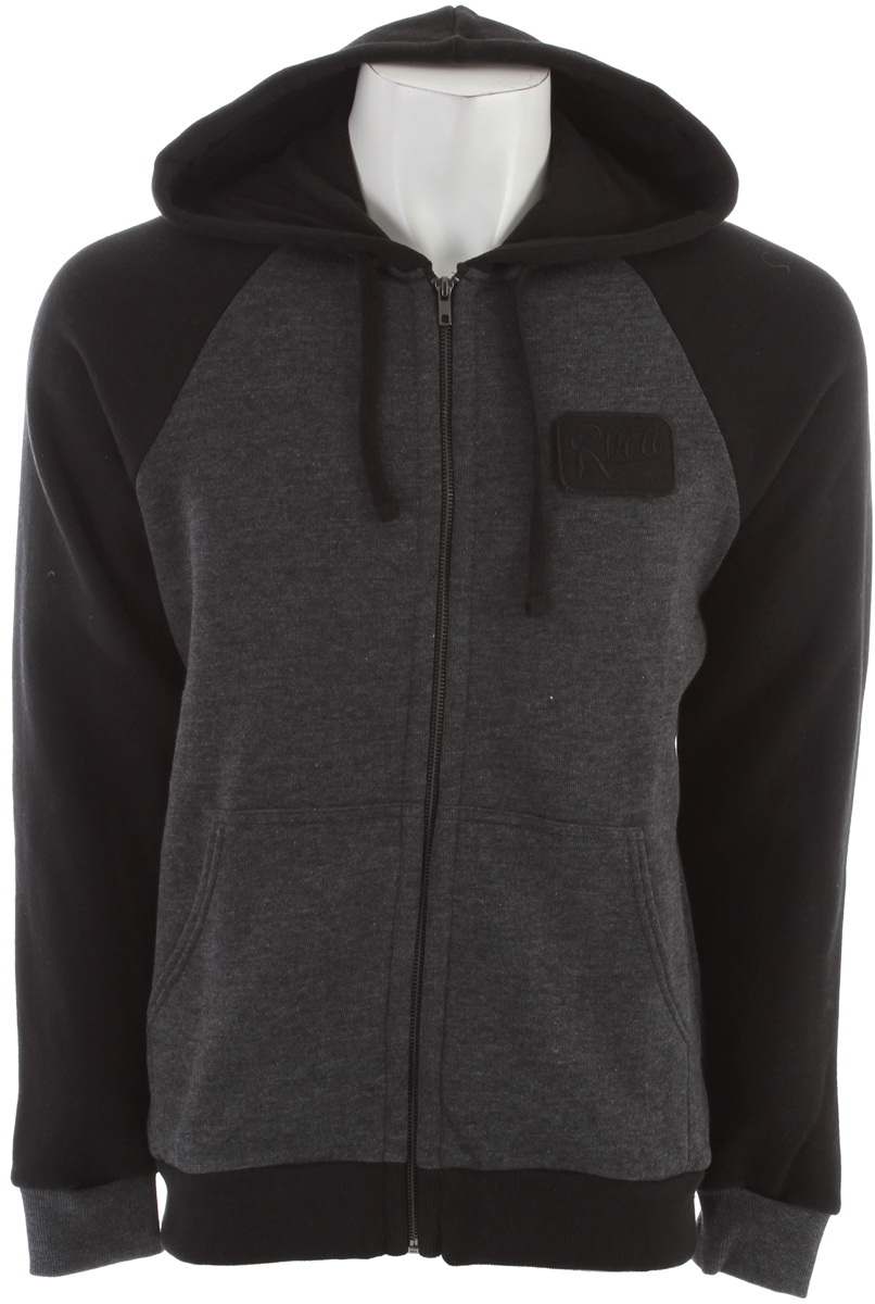 Key Features of the RVCA Overtime Zip Hoodie: Regular Fit - 60% Cotton/40% Polyester nubby fleece Long sleeve raglan hood with exposed center front zip closure Drawcord at hood opening. Patch pocket at lower front Ribbing at cuffs and waistband RVCA patch at wearer's left chest. - $42.95
