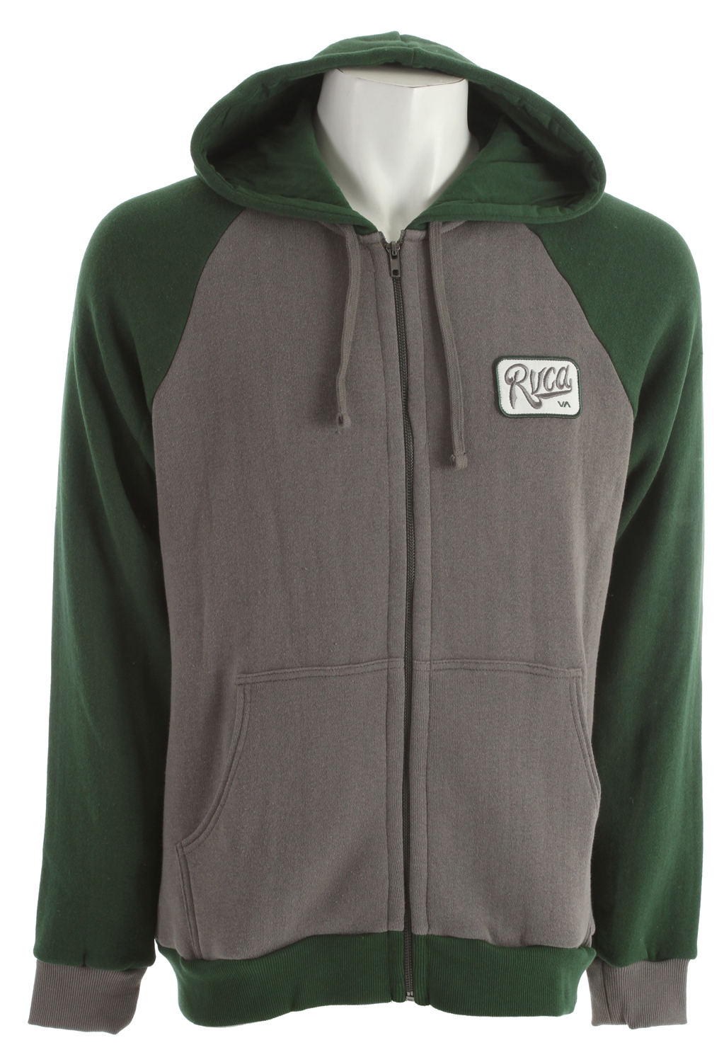 Key Features of the RVCA Overtime Hoodie: Regular fit 65% cotton/35% polyester nubby fleece Long sleeve hood with exposed center front zip closure Drawcord at hood opening Patch pocket at lower front Ribbing at cuffs and waistband RVCA patch at wearers left chest - $42.95