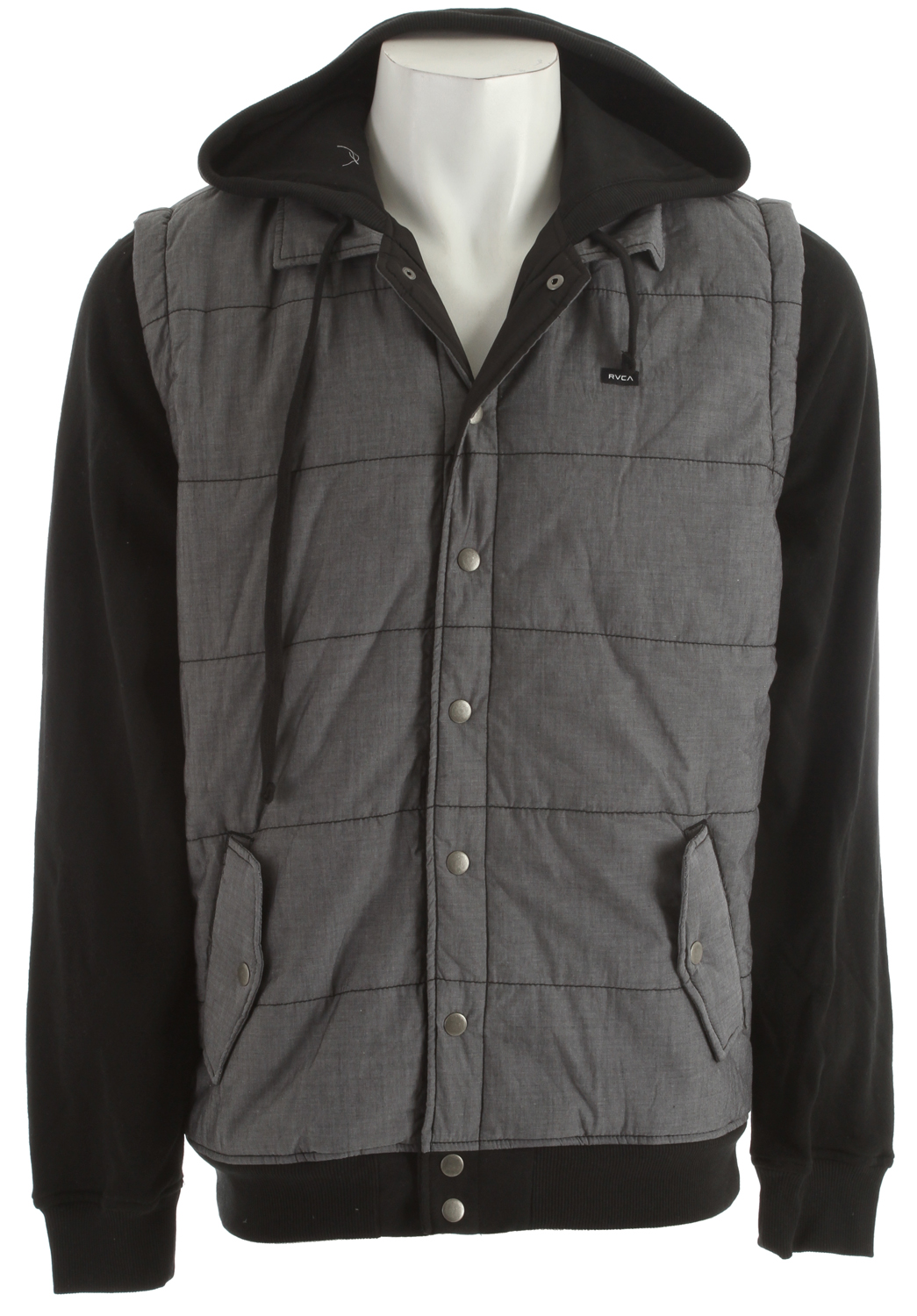 Key Features of the RVCA Puffer Chambray Hoodie: Regular fit Chambray Vest with 60% cotton/40% polyester peached fleece Long sleeve hooded jacket with drawcord at hood opening Nylon at body and fleece at hood and sleeves Snap down button closure at center front placket Ribbing at hood opening, cuffs and waistband Welt pocket at front with flaps and snap button closure RVCA solo label at left chest - $74.00