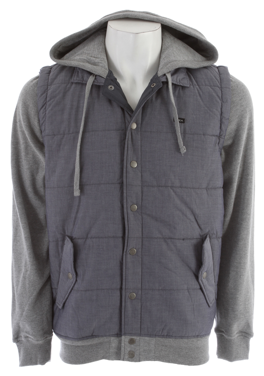 Key Features of the RVCA Puffer Chambray Hoodie: Regular Fit – 100% Cotton Chambray vest with 60% Cotton/40% Polyester peached fleece. Long sleeve hooded jacket with drawcord at hood opening. Chambray at body and fleece at hood and sleeves. Snap button closure at center front placket. Ribbing at hood opening, cuffs and waistband. Welt pocket at front with flaps and snap button closure. RVCA solo label at left chest. - $51.95