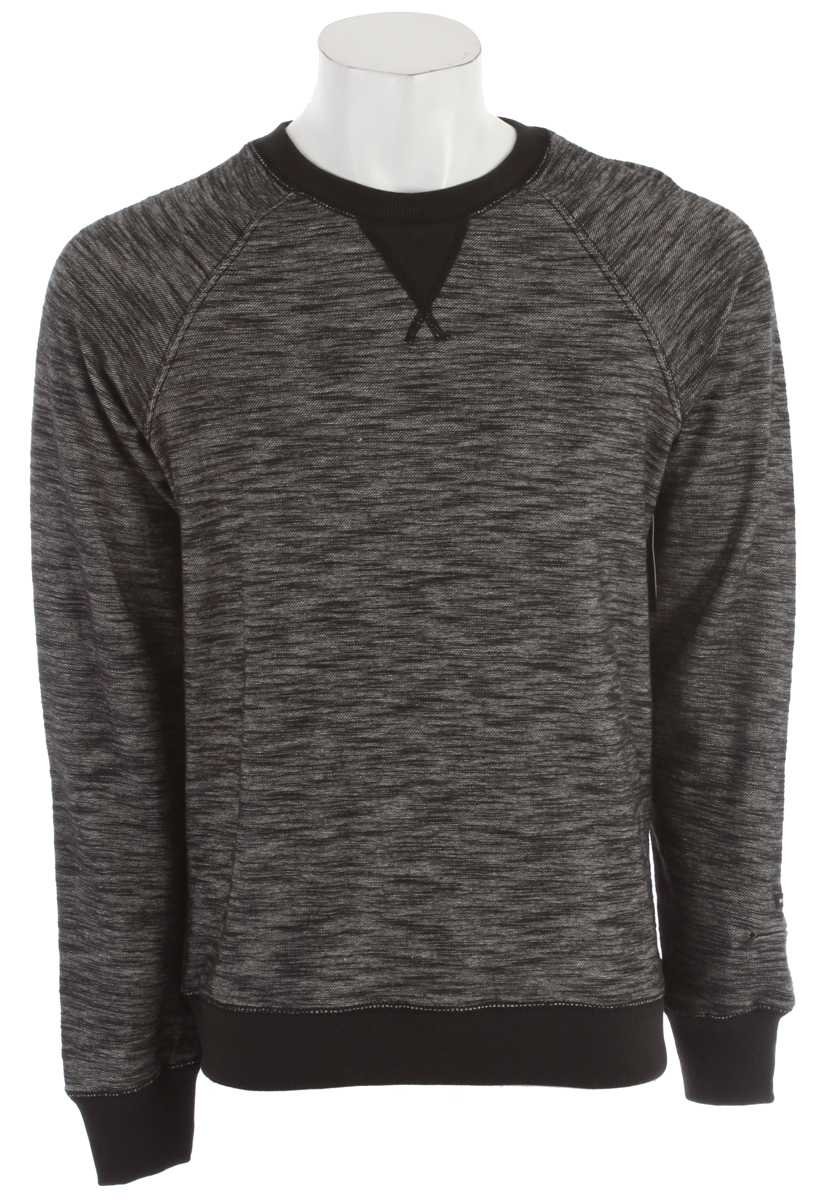 Key Features of the RVCA Rocky Crew Sweatshirt: Regular Fit - 100% Cotton Twill French terry. Long raglan sleeve crew sweatshirt. Pocket with invisible zipper at wearer's left sleeve with RVCA solo label. Ribbing at neckband, triangle inset, cuffs and waistband. RVCA embroidery at wearer's left chest. - $34.95
