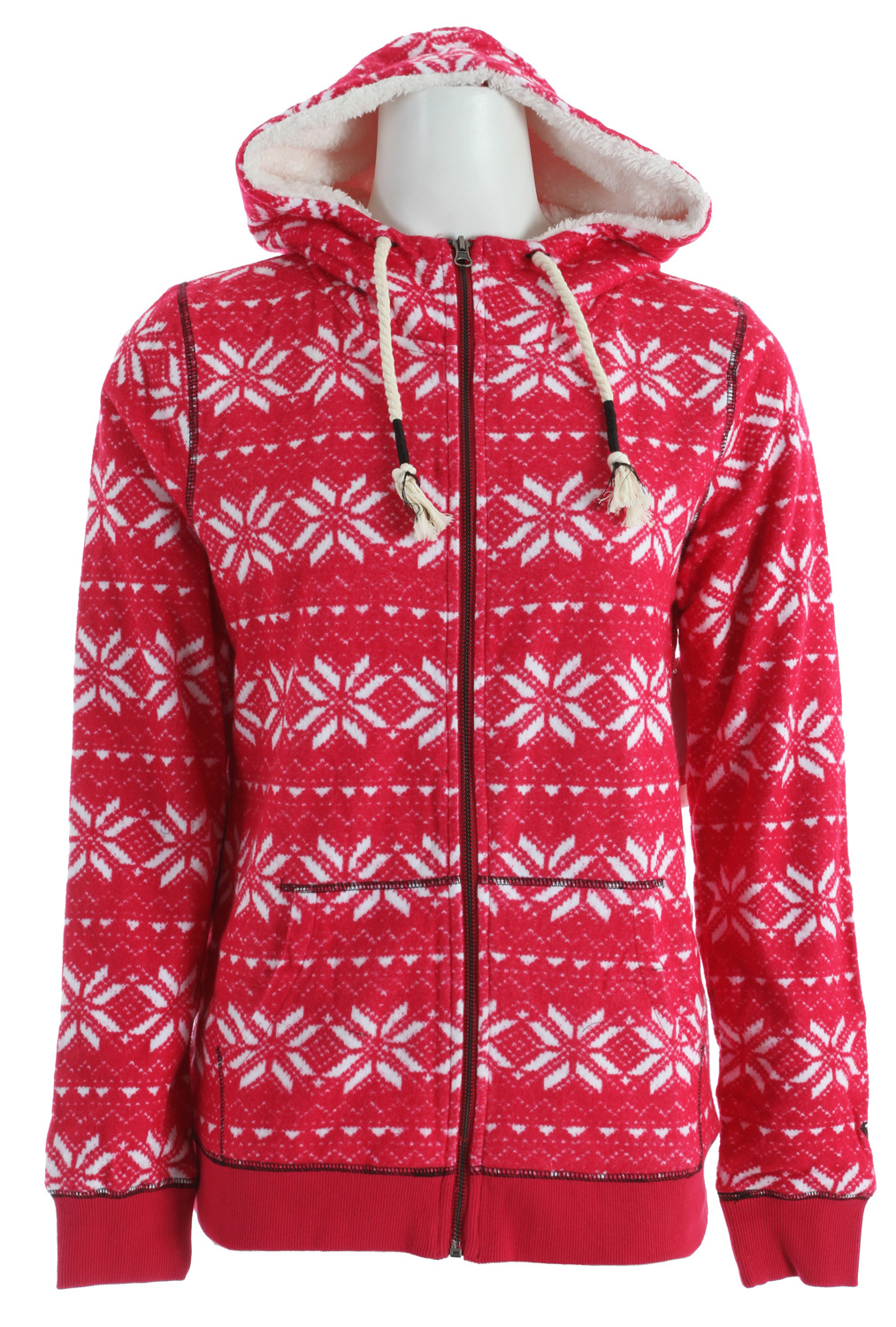 Surf Better get this now before the competition gets grizzly. Fair Isle print sweatshirt features warm sherpa lining at hood and body, and jersey lining at sleeves. Includes pouch pockets and a wrapped drawcord. 26-inch length.100% cotton reverse French terry. Machine wash. - $51.95