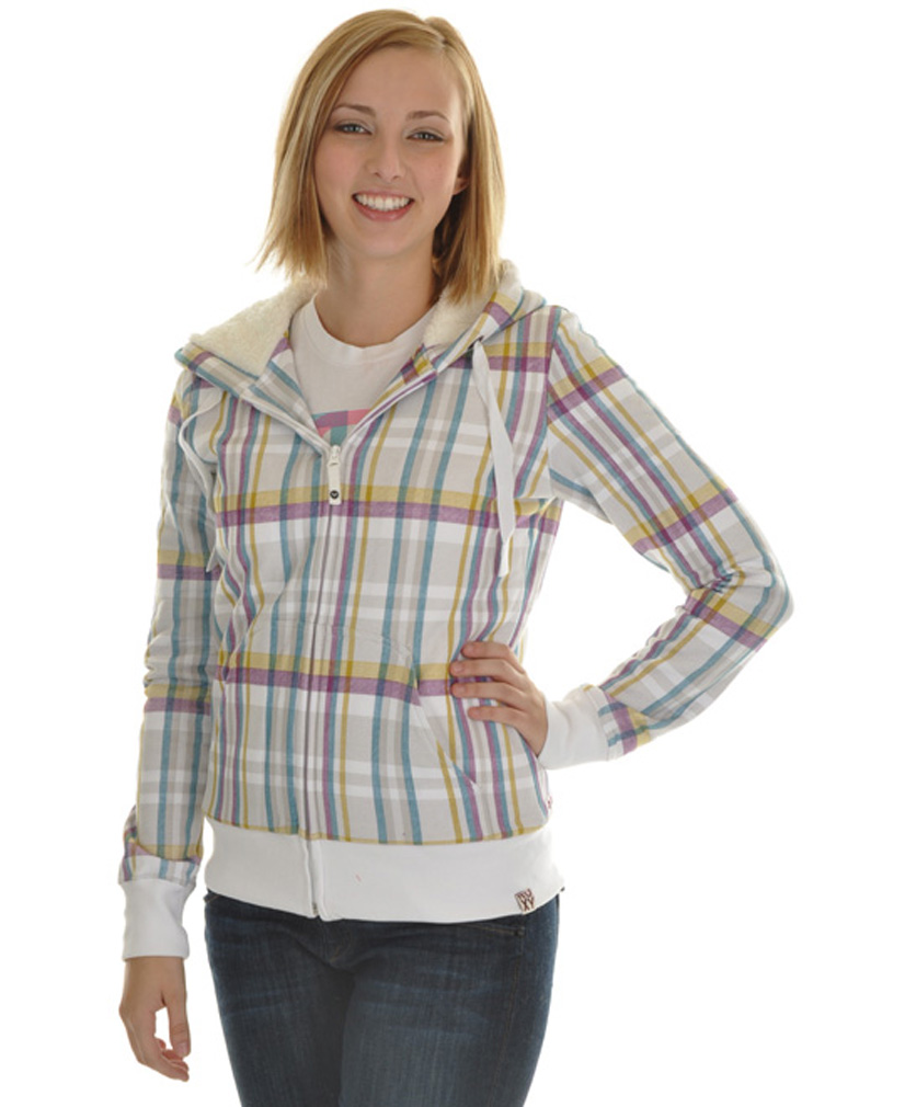 Surf Roxy has you covered while you hit the slopes or the streets in the snow and cold in a fun and stylish way! With 100% Thermoloft Soft Sherpa lining, this comfy full zip hoodie has great insulation for cold days and long cold nights. This hoodie will have you longing for spring with all over White Farmer's plaid complimented with glowing hues of purple, gold and teal. 80% Cotton and 20% Polyester blend.Key Features of the Roxy Canoe Full Zip Hoodie:80% Cotton / 20% Polyester All-Over Printed Zip Up Hoodie 100% Thermaloft Soft Sherpa Lining / 300g - $49.95